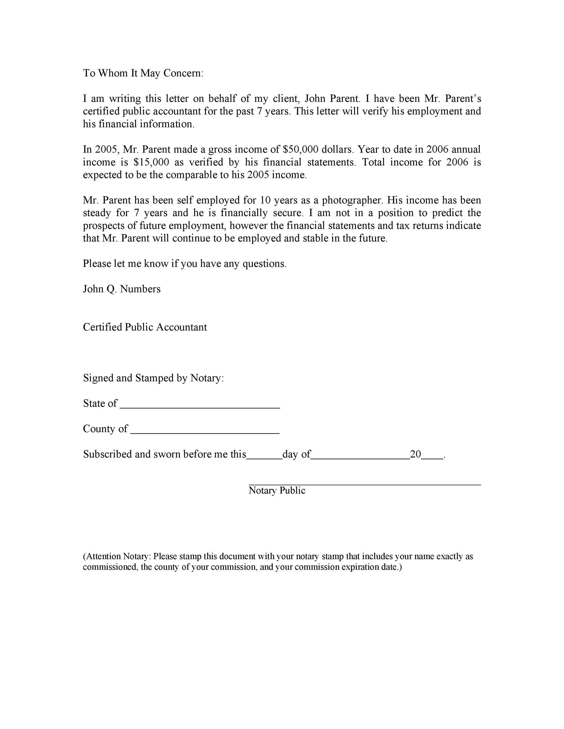 Free income verification letter 38