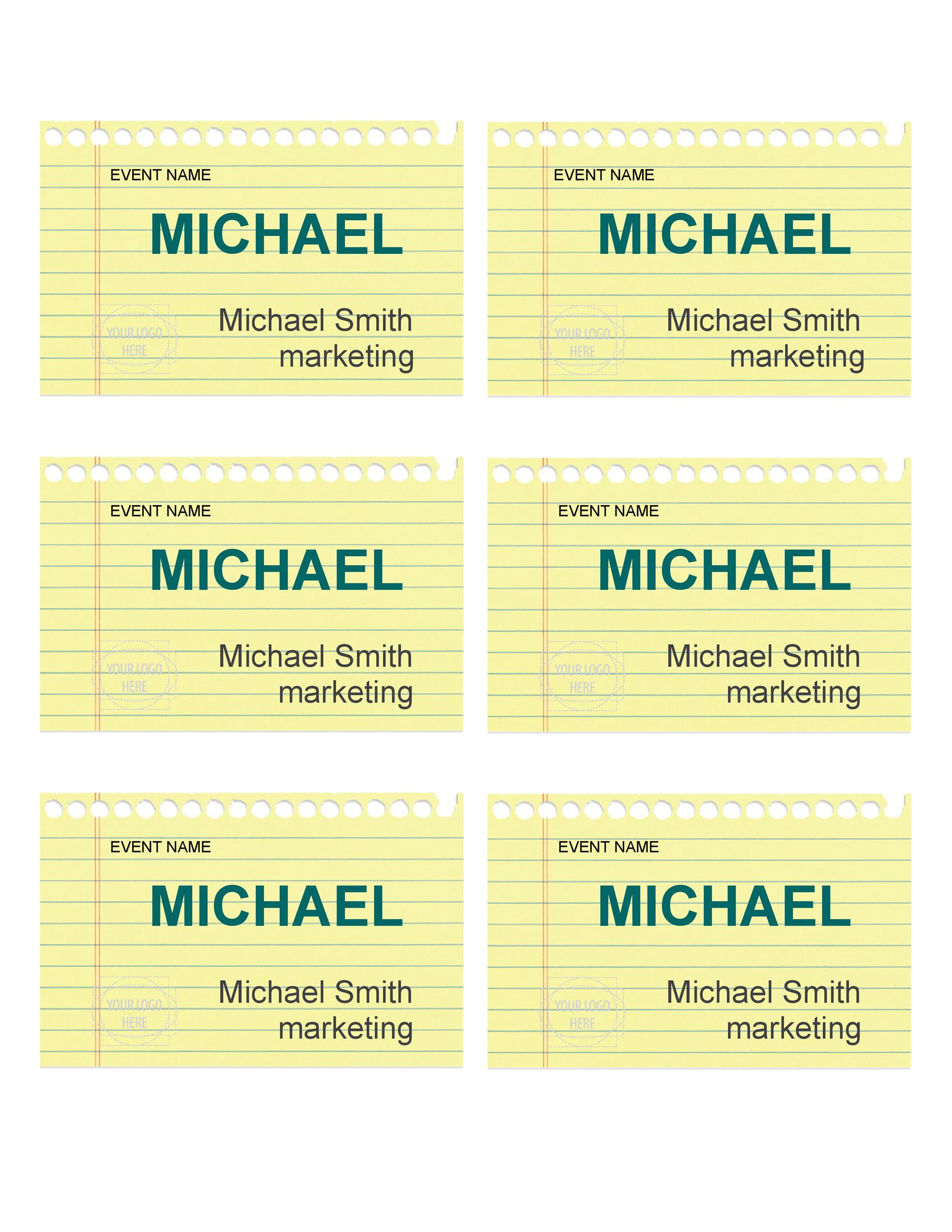Free name tag template 15