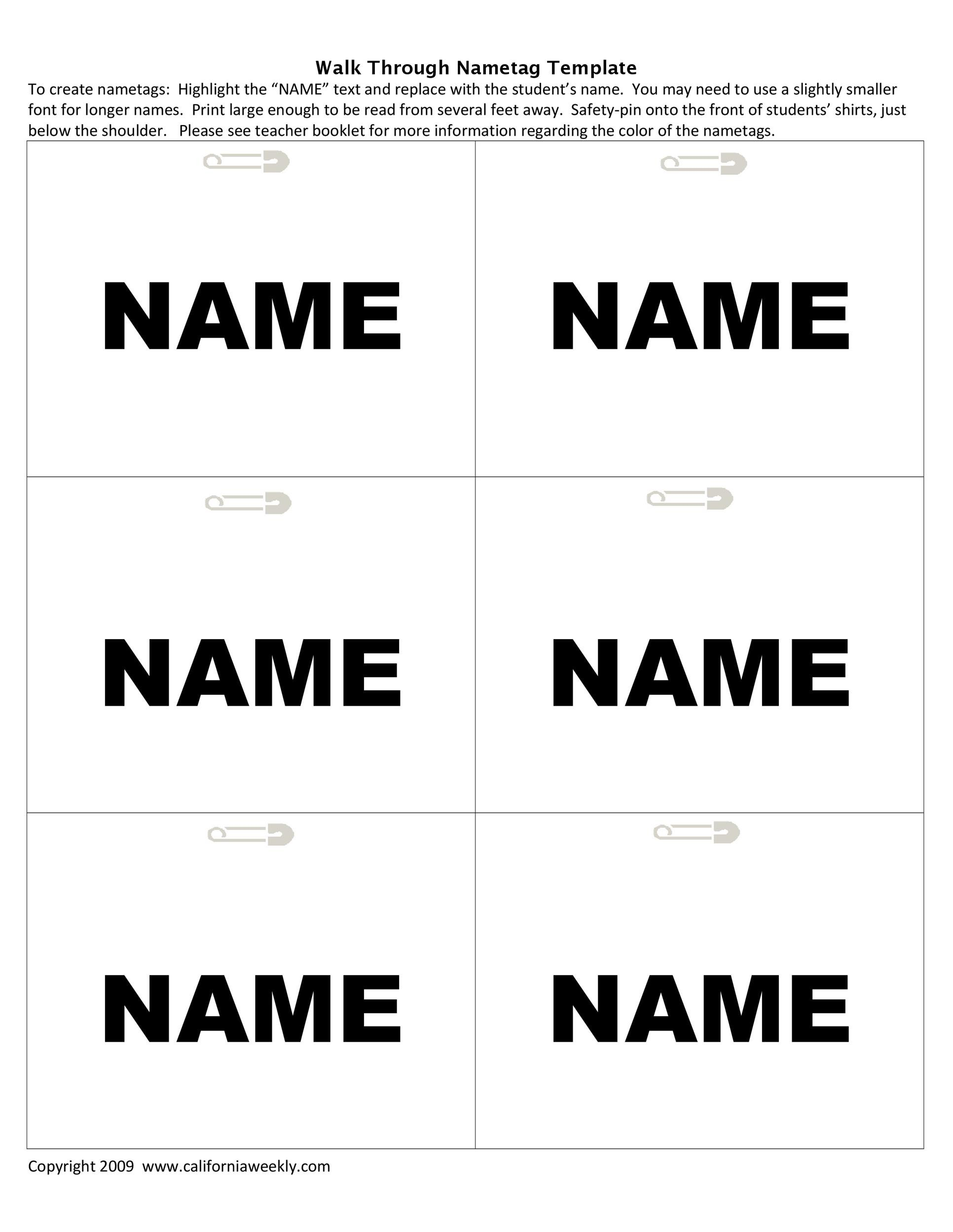 Free name tag template 43