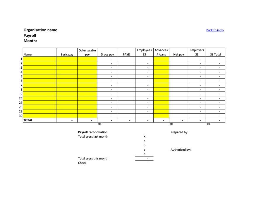 Free payroll template 02