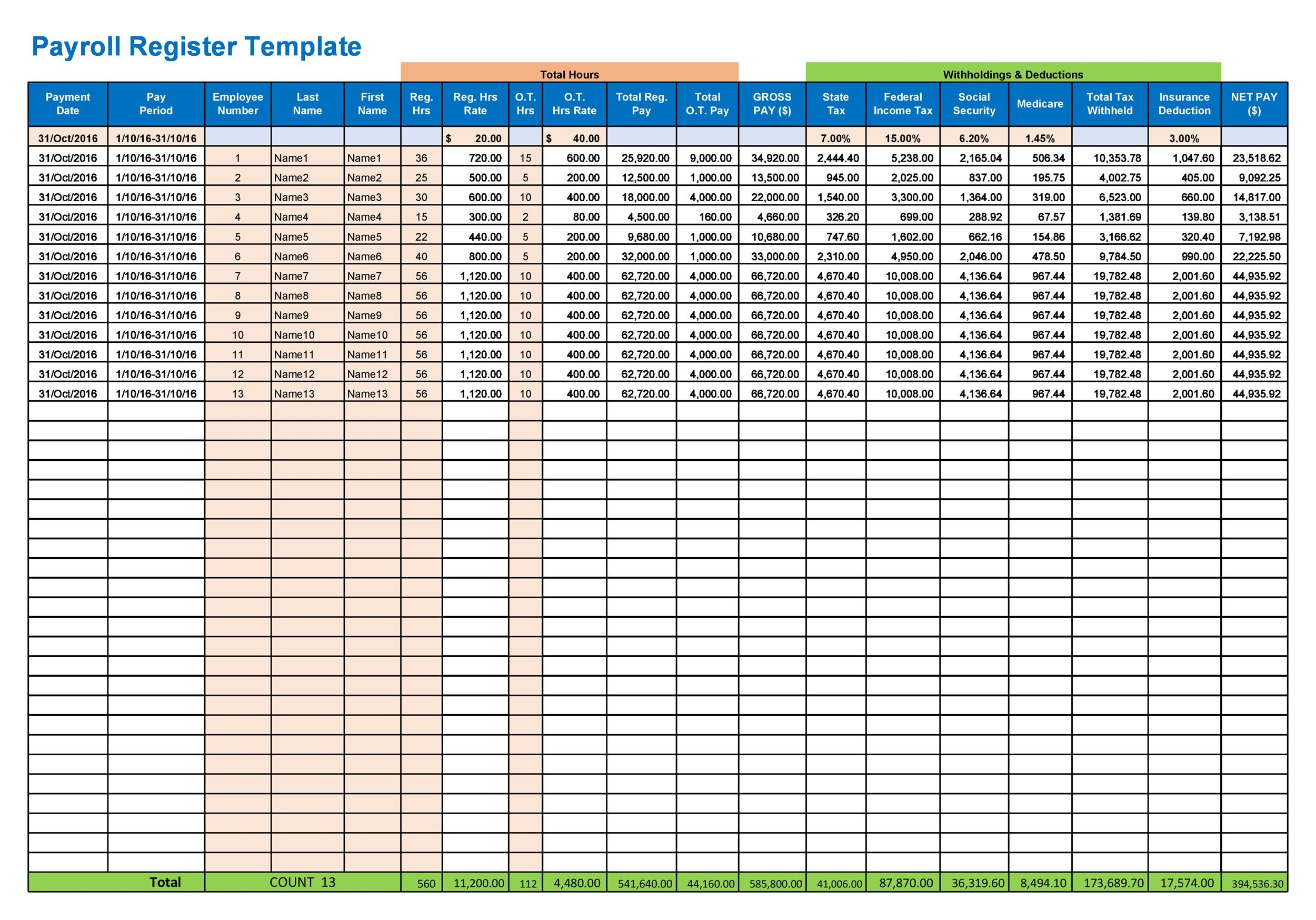 Free payroll template 15