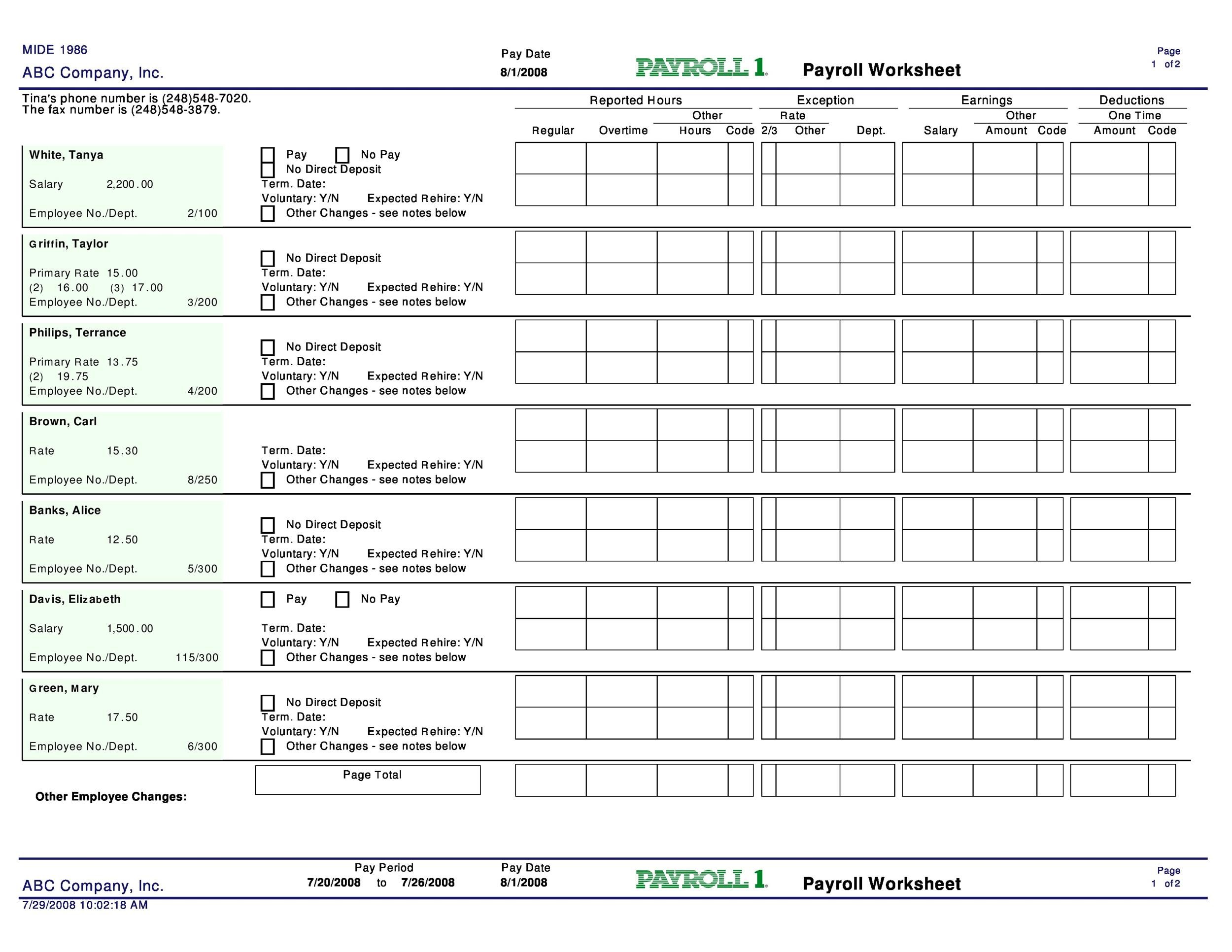 Free payroll template 24