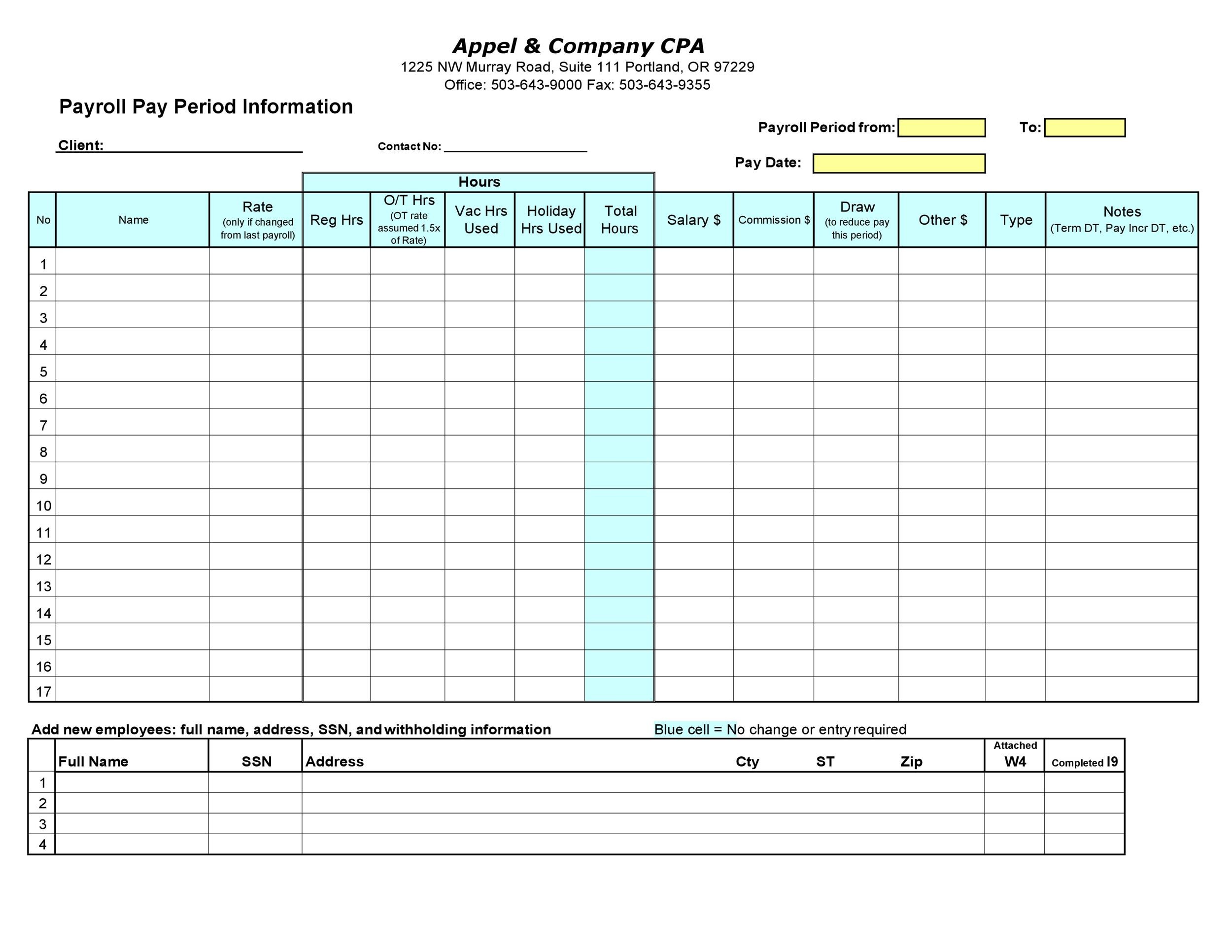 Free payroll template 39