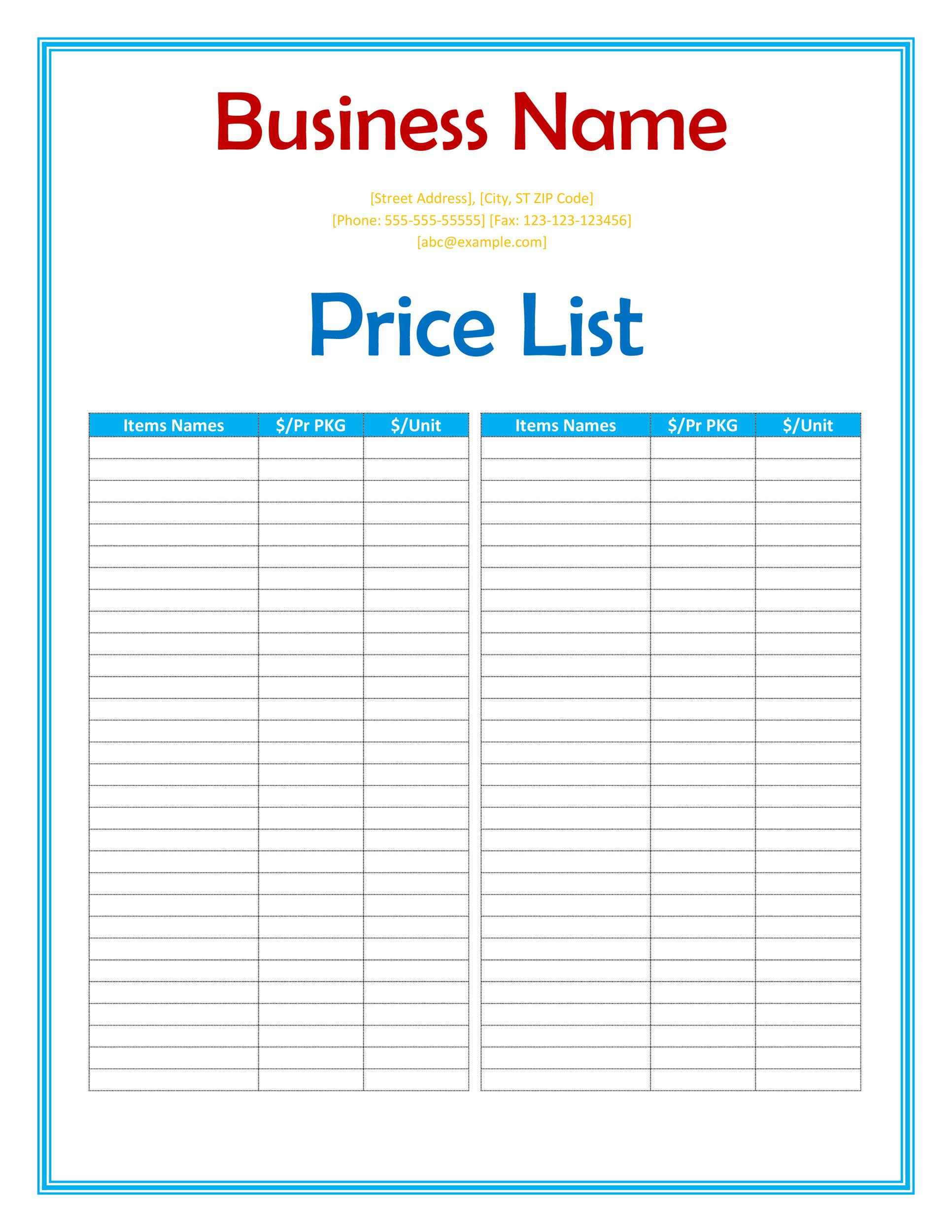 Free price list template 01