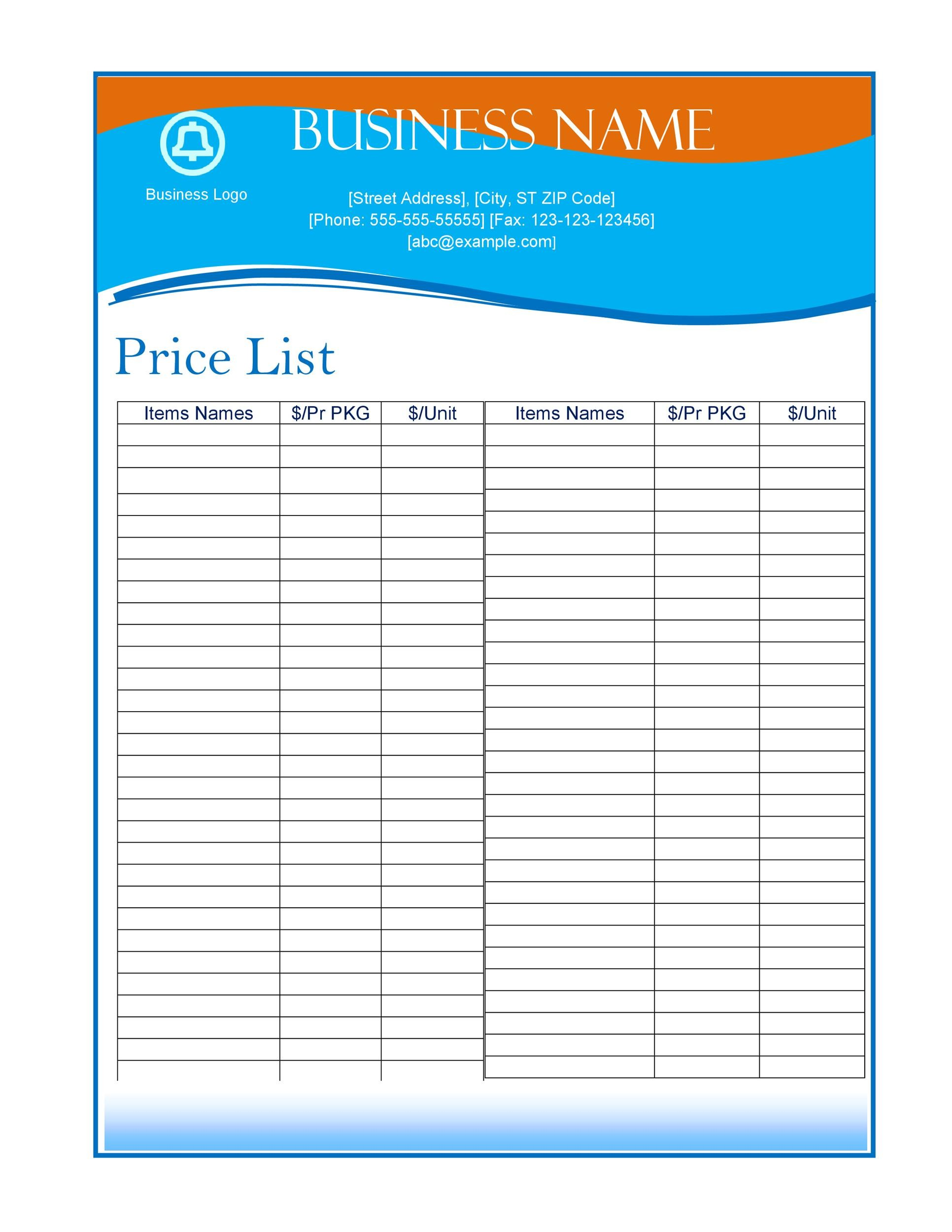 Free price list template 02