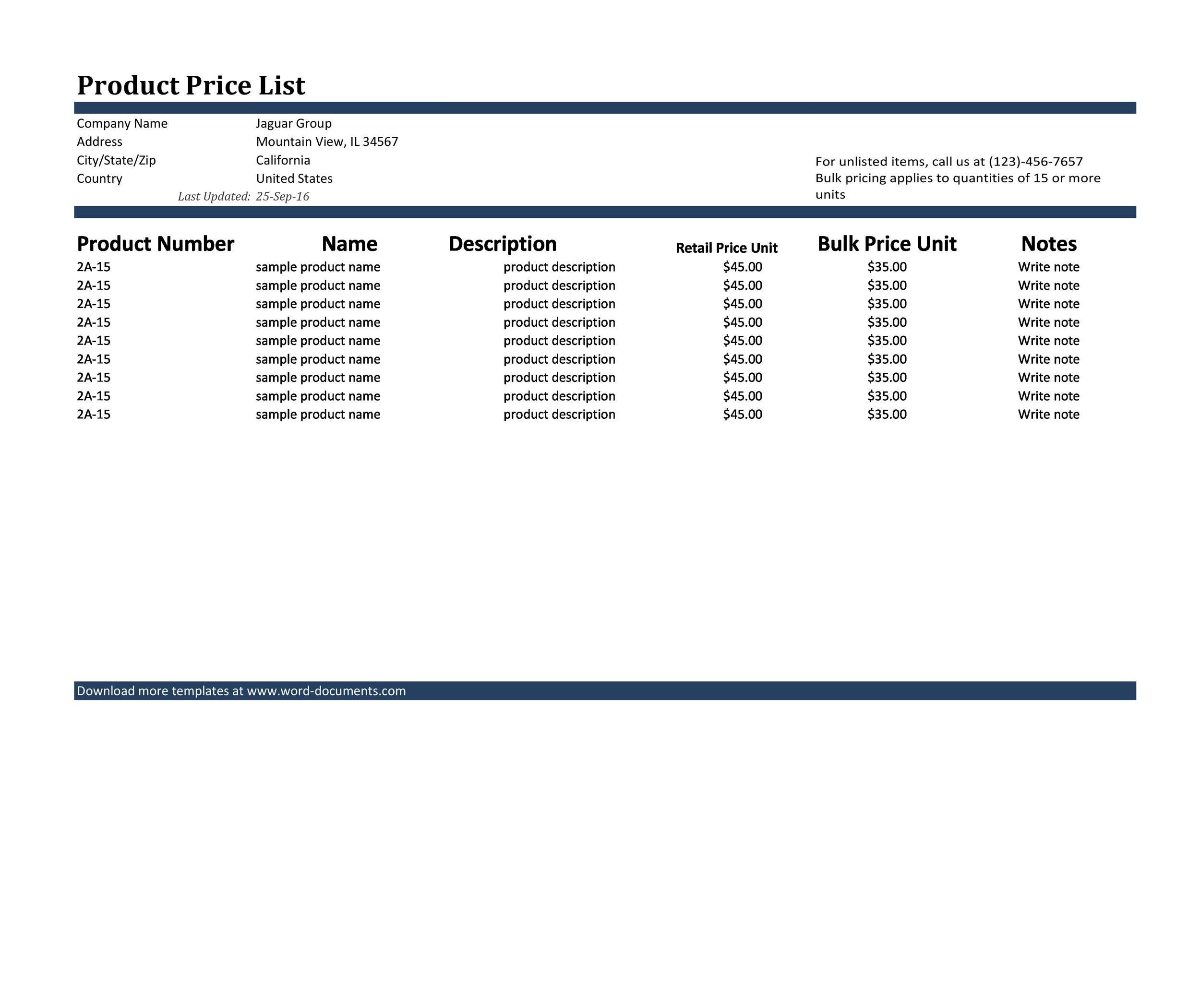 Free price list template 04