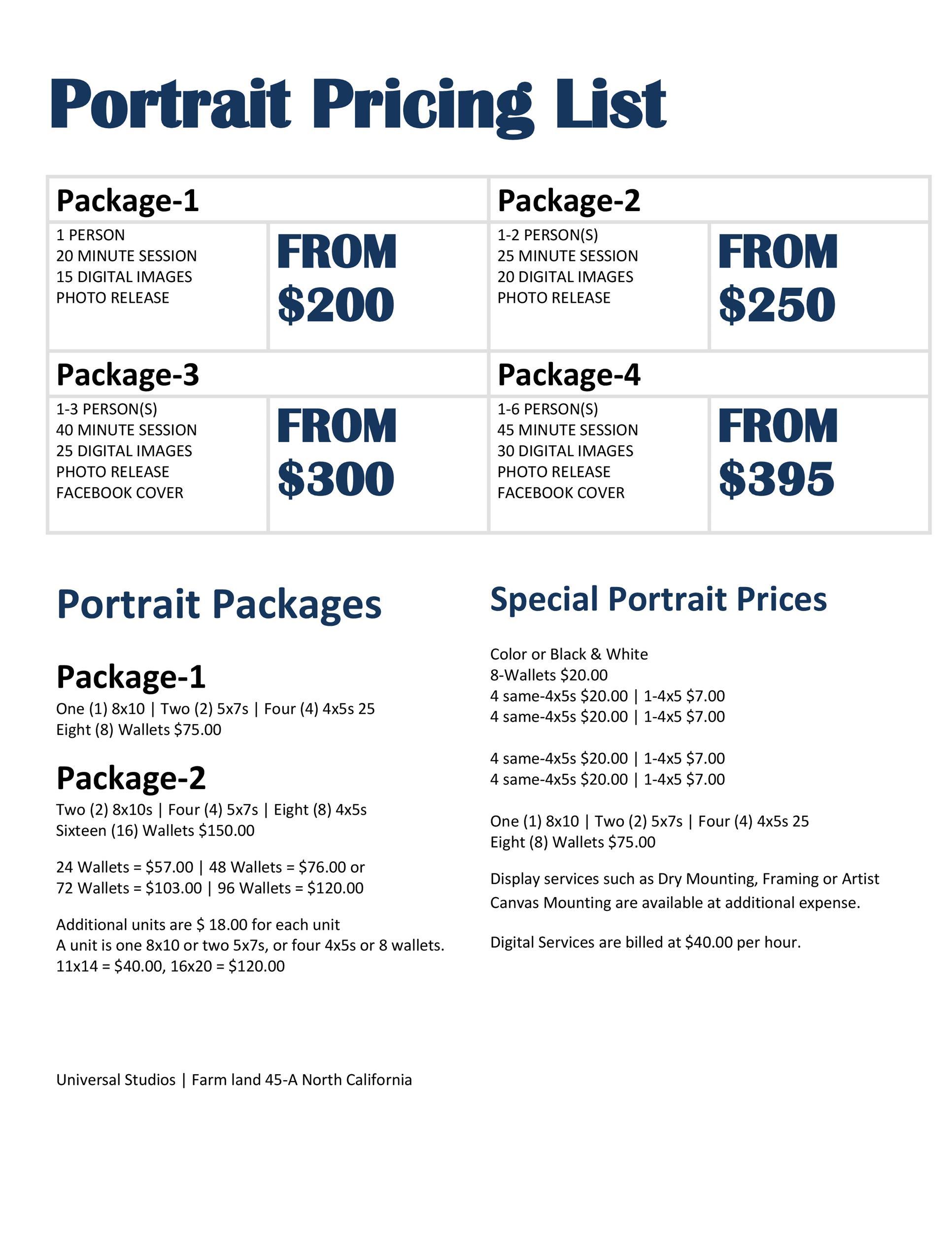 Free price list template 08