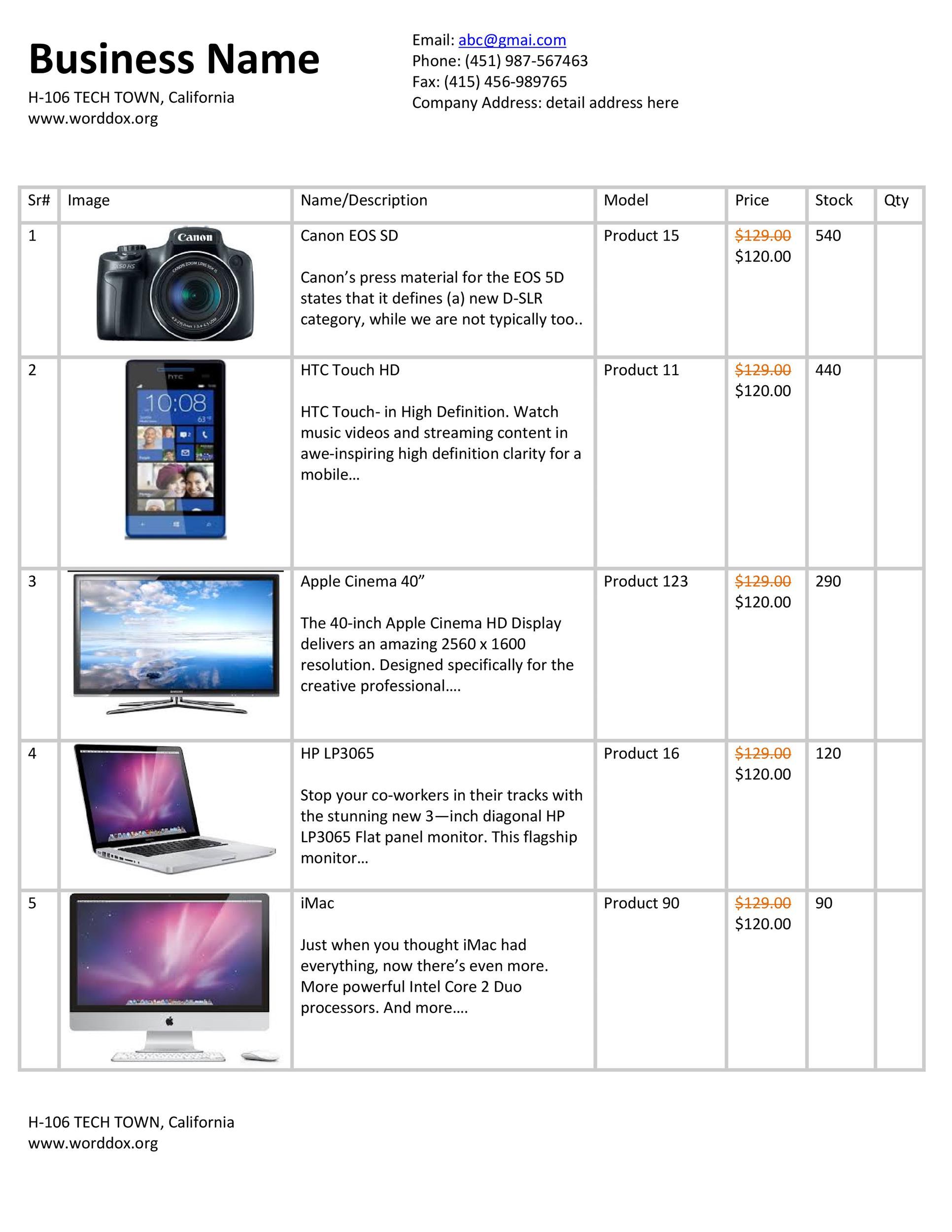 Free price list template 18