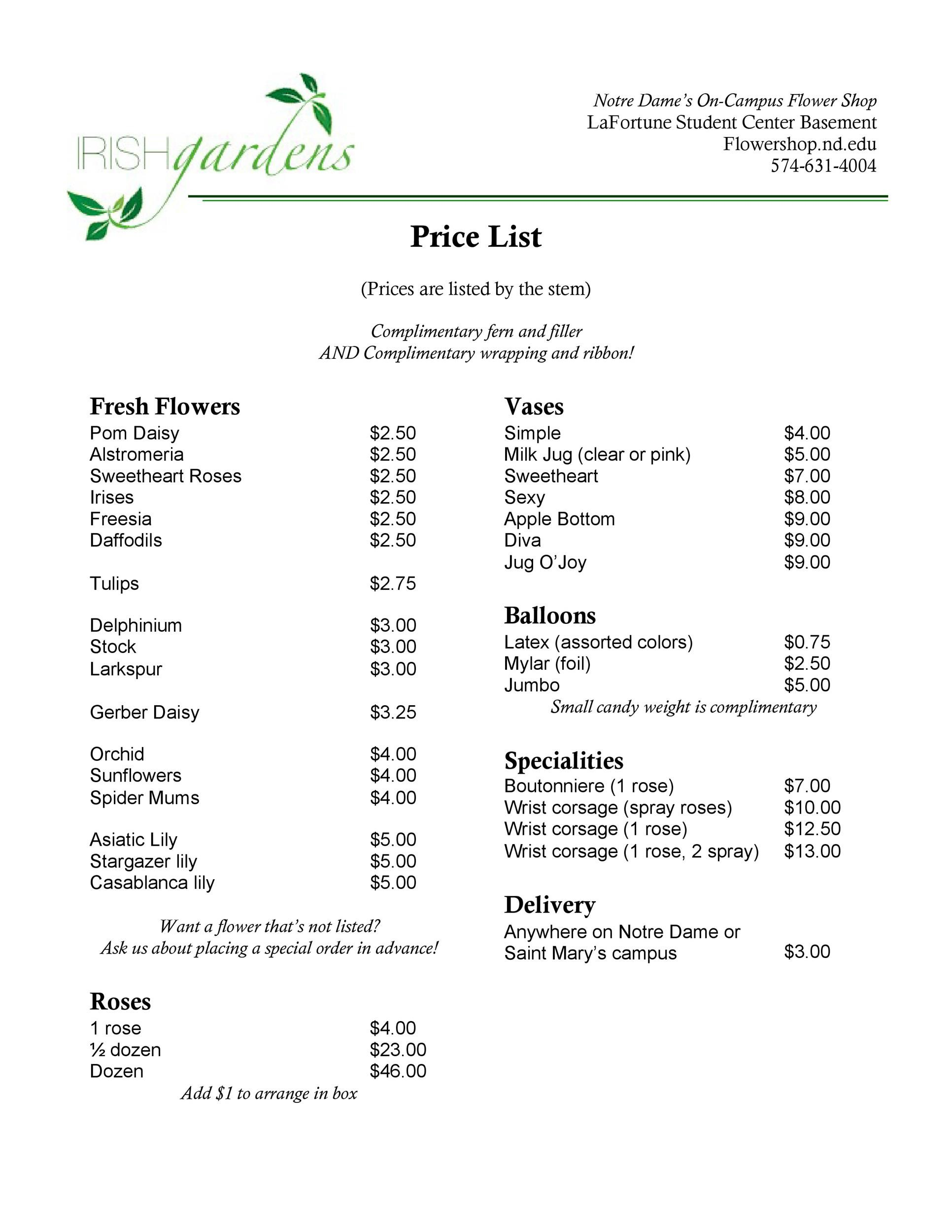 Free price list template 28
