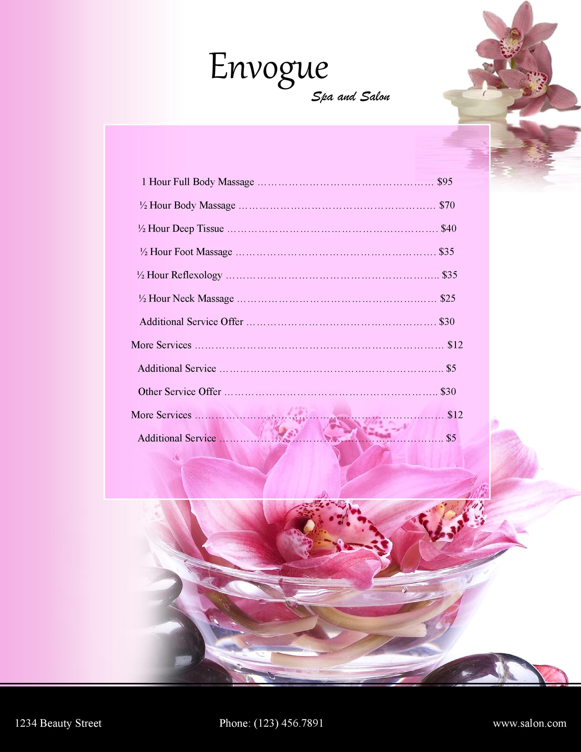 free price list template 32