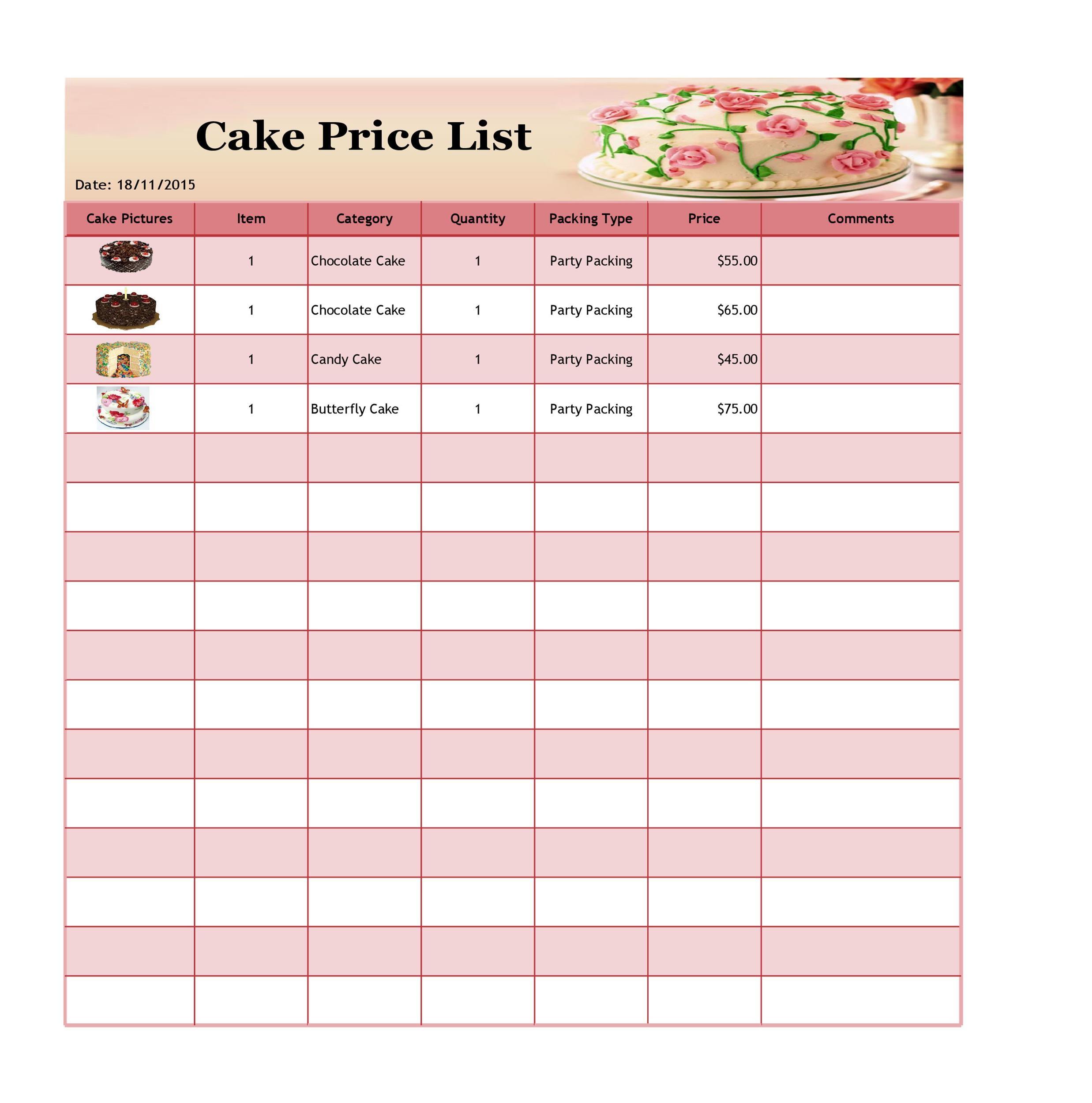 Free price list template 33