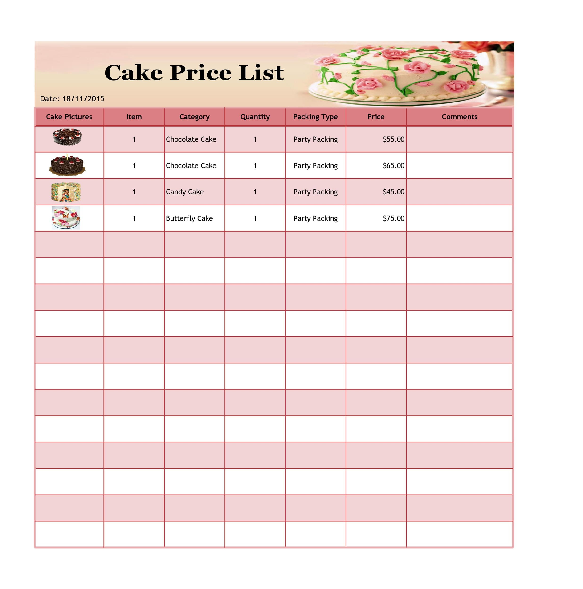 Free price list template 33