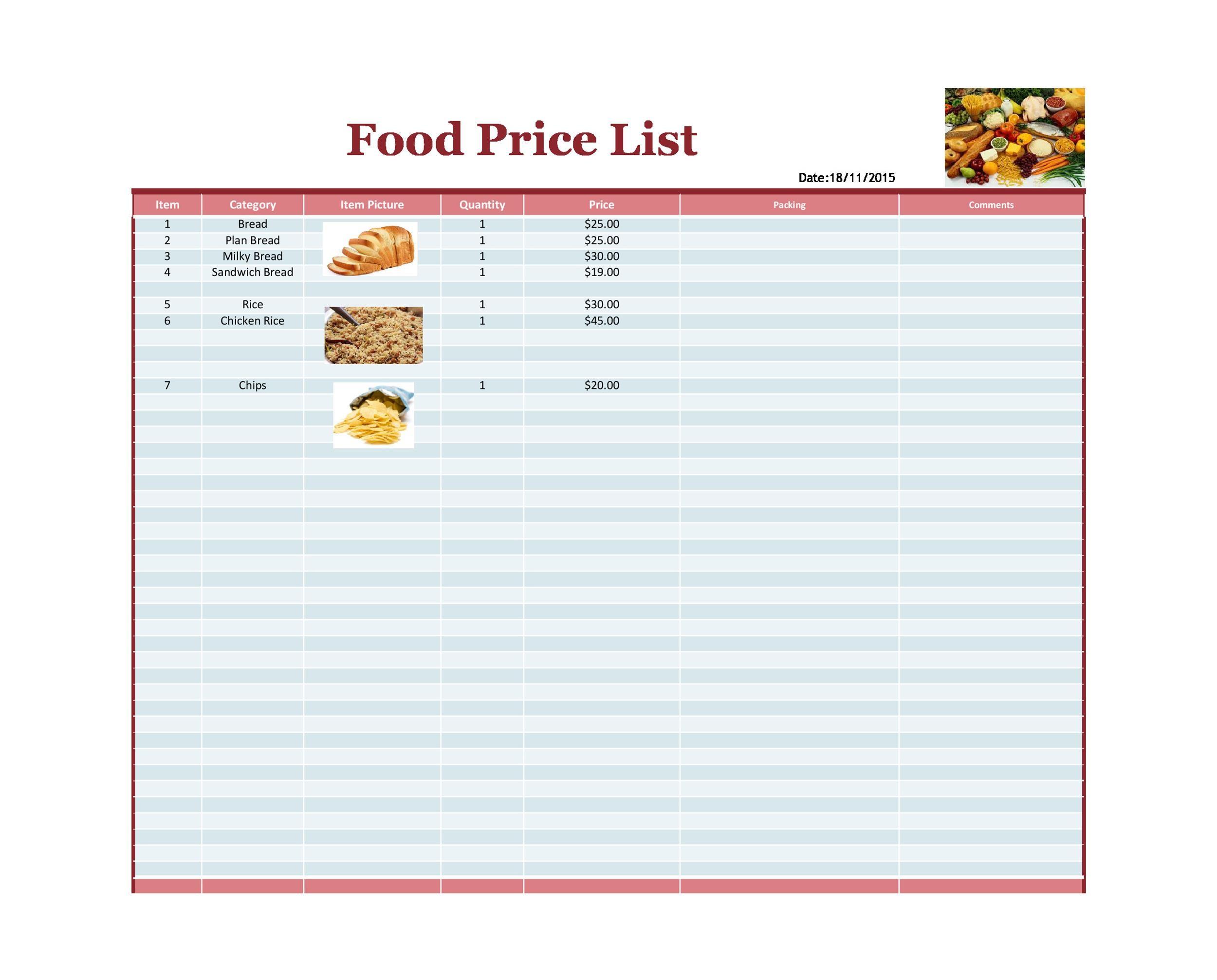 Free price list template 34