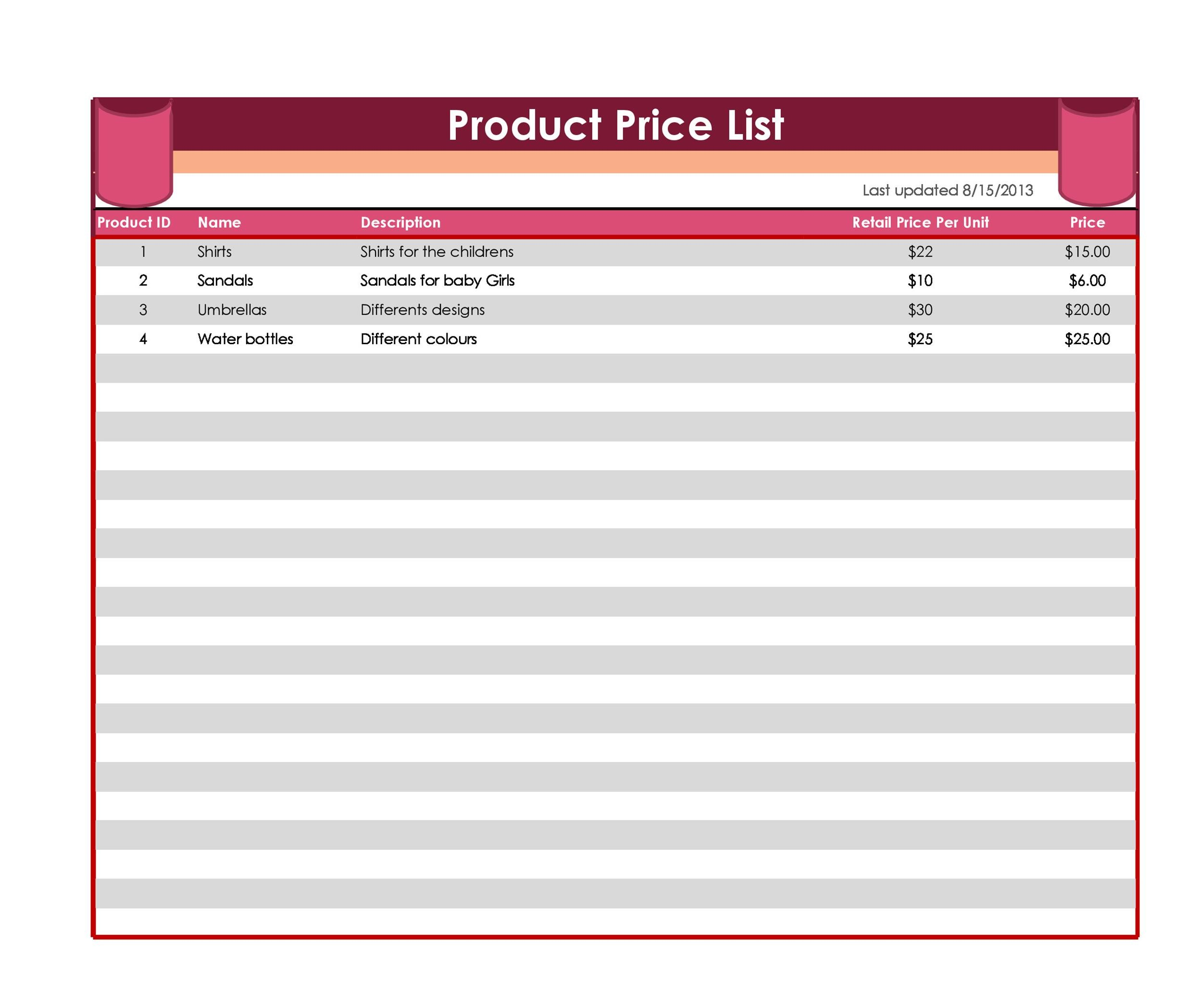 price sheet template