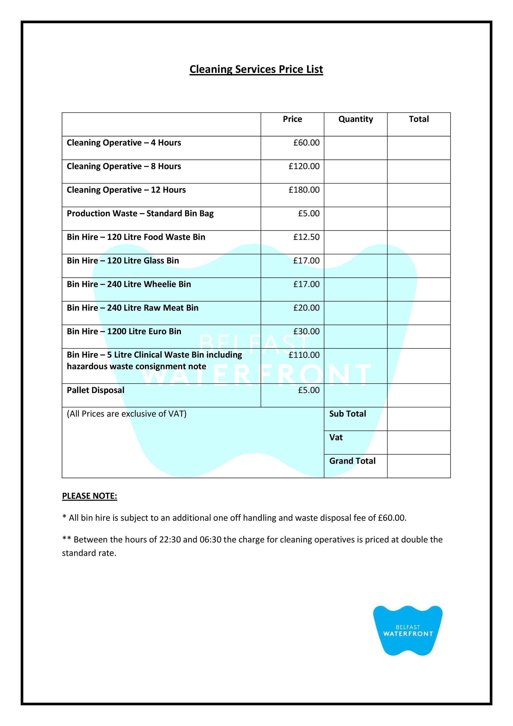 Free price list template 37