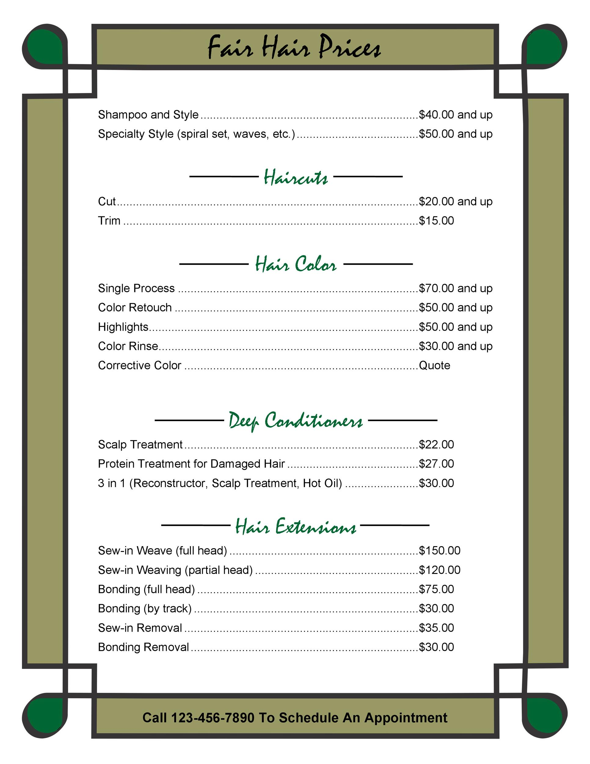 Free price list template 39