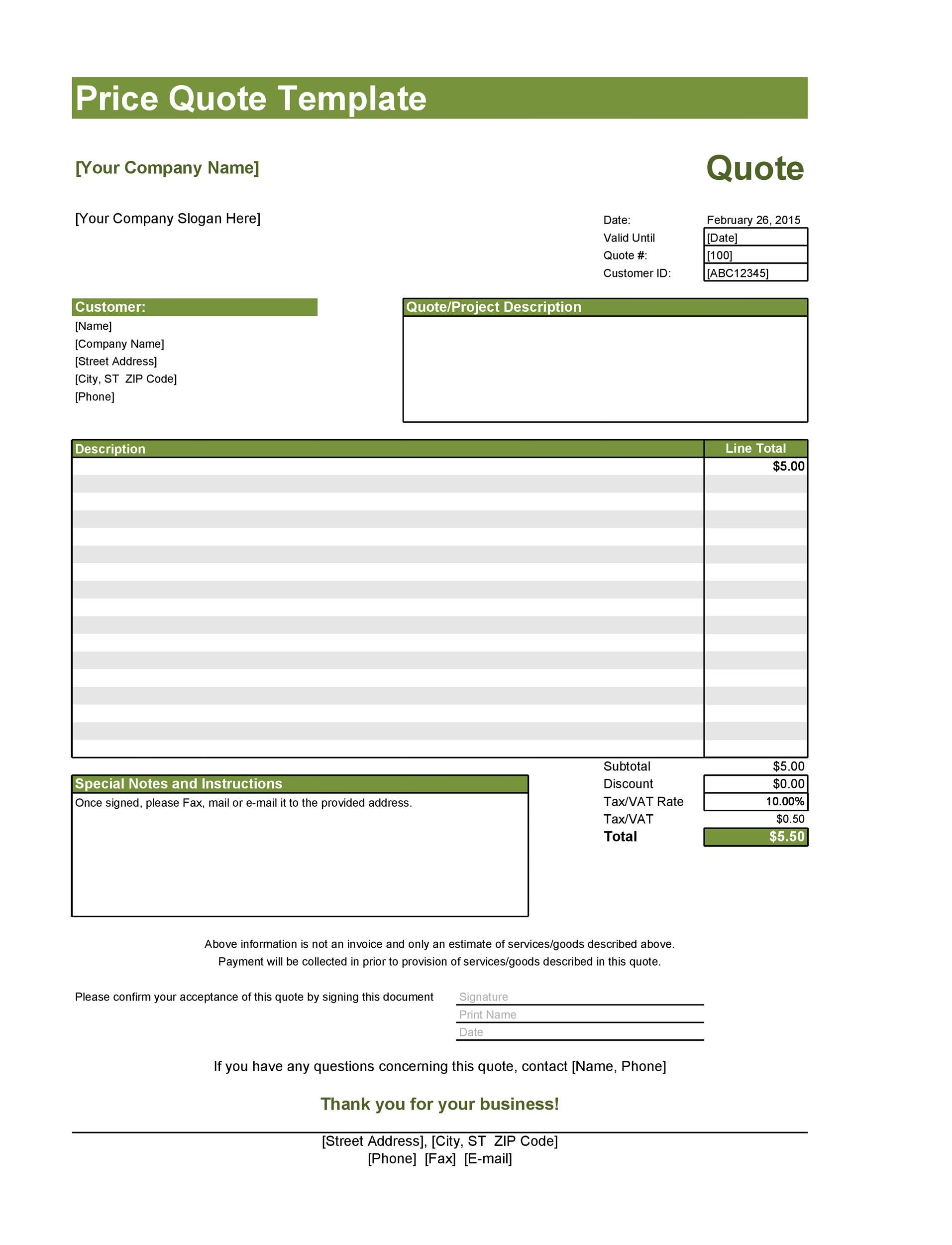 Excel Quotation Template Spreadsheets For Small Business from templatelab.com
