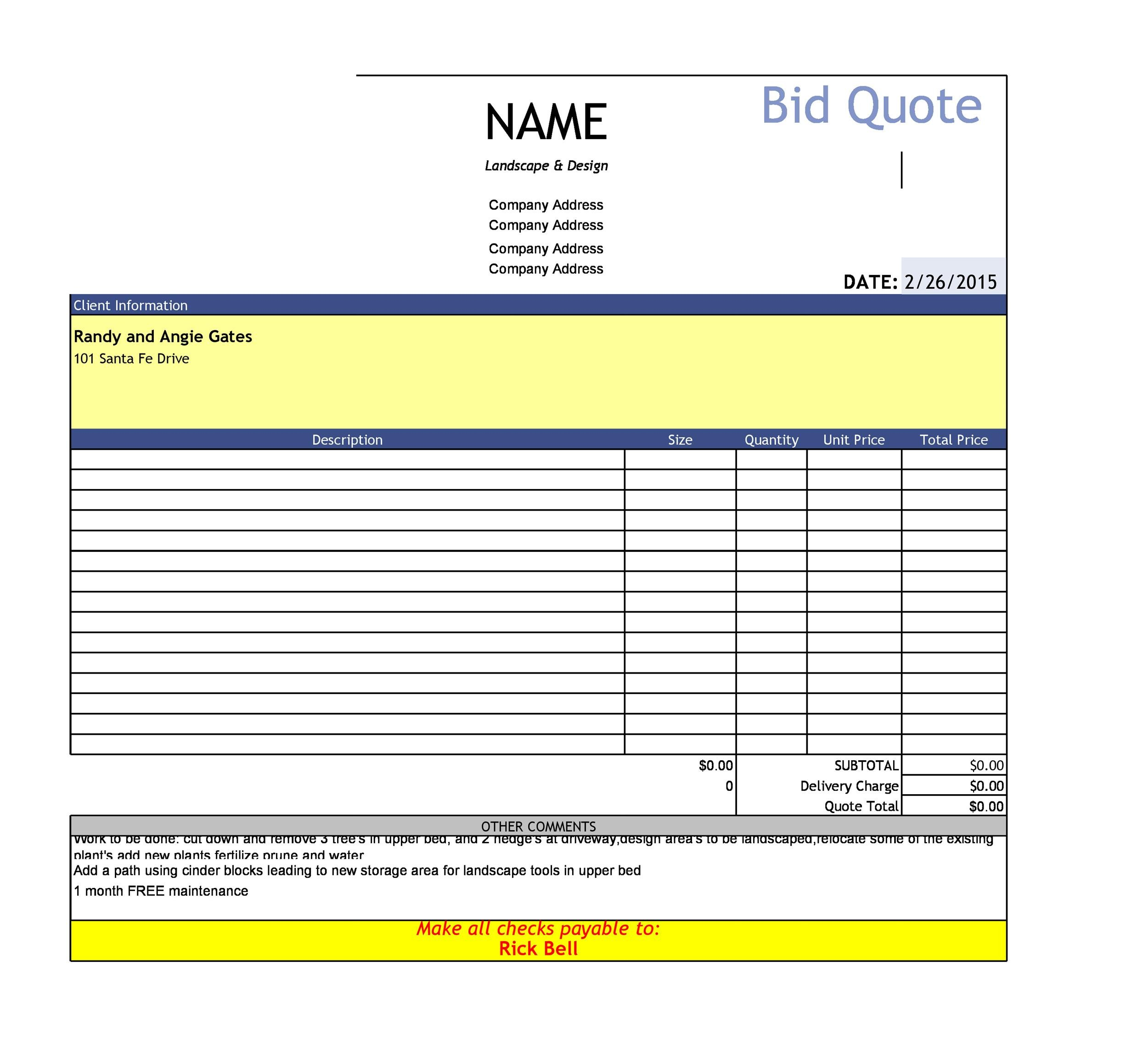 Free quote template 12