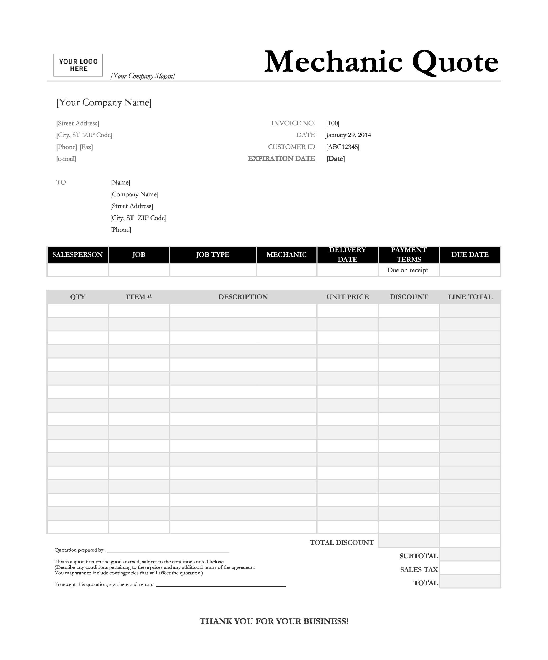 Free quote template 26