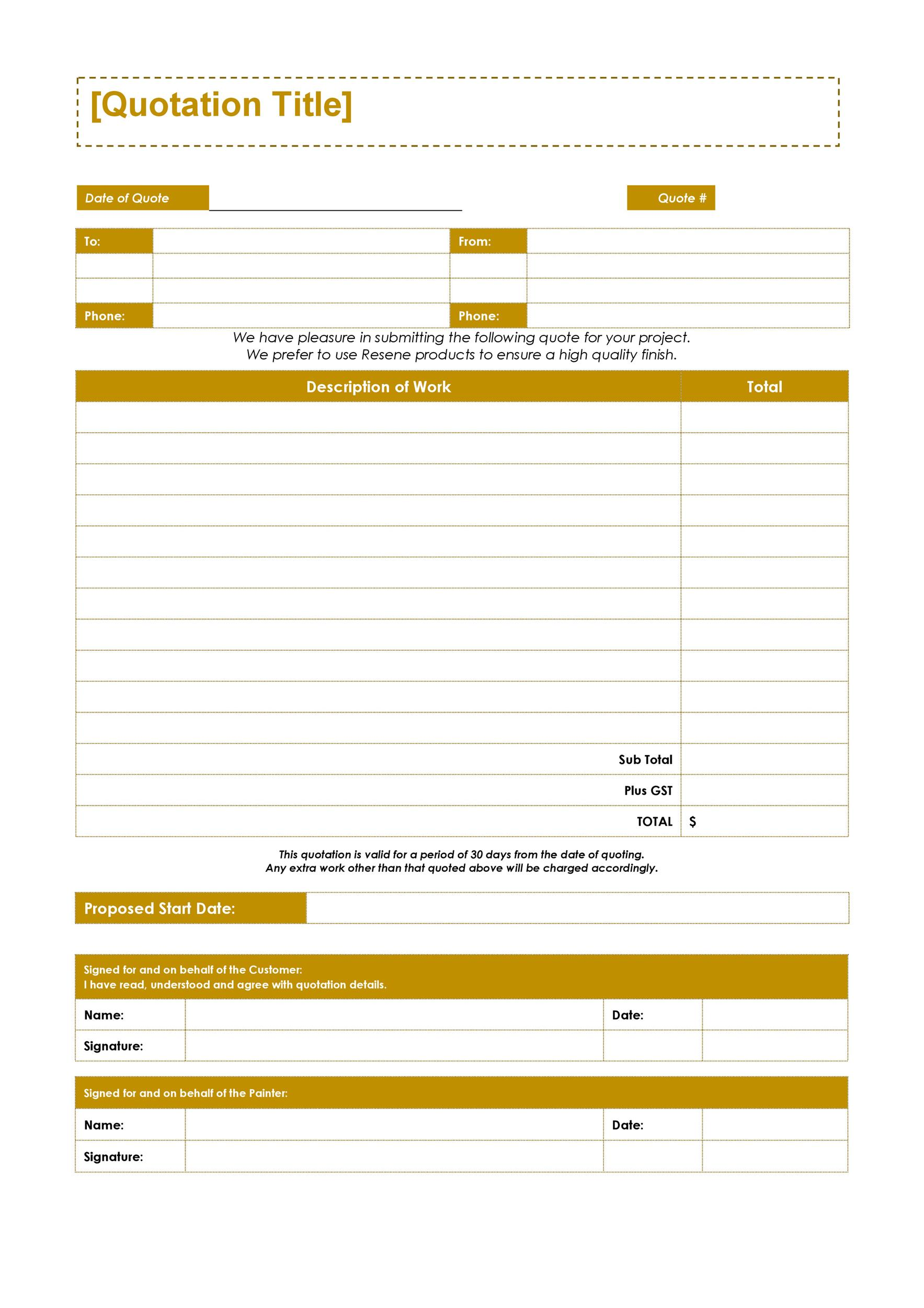 Free quote template 36