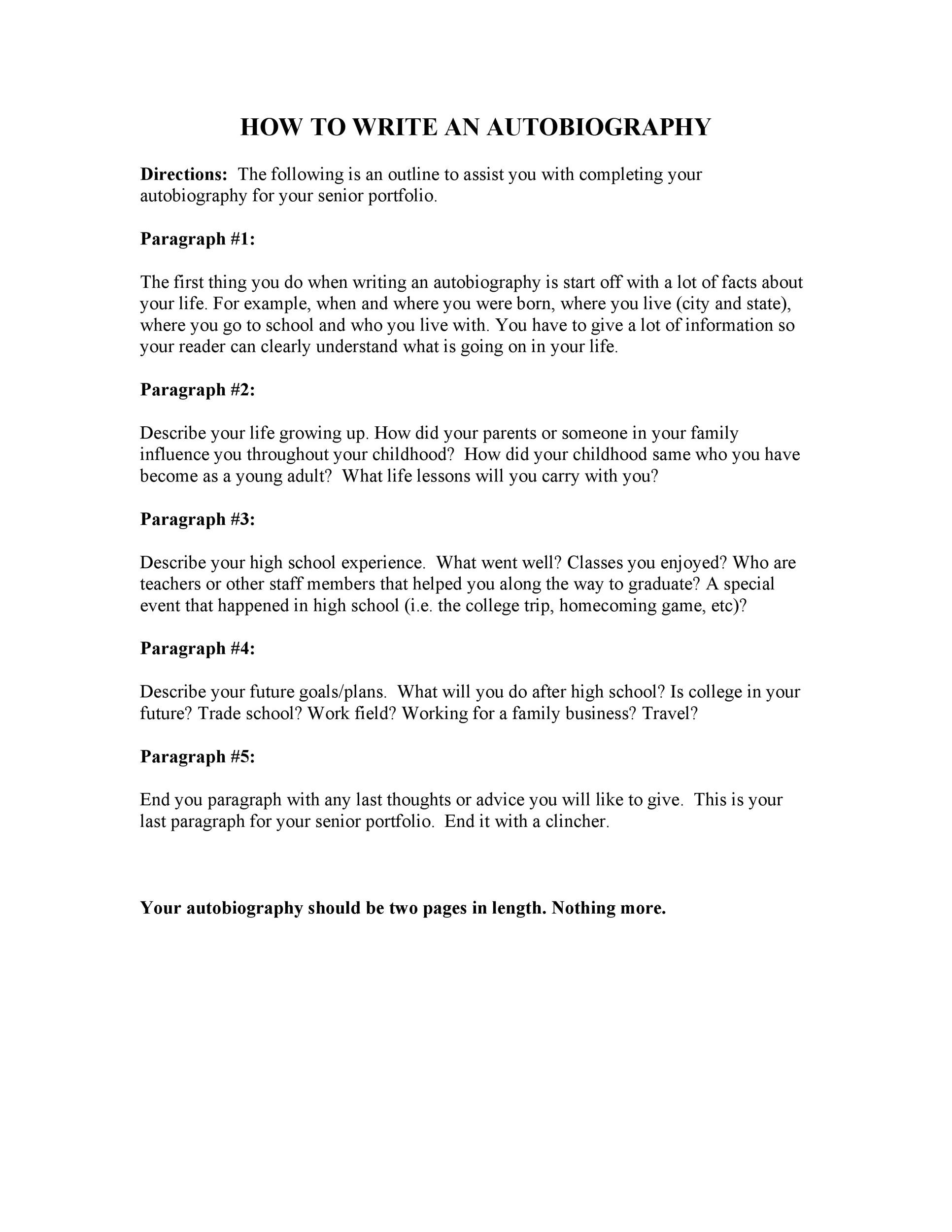Free Autobiography Template 12