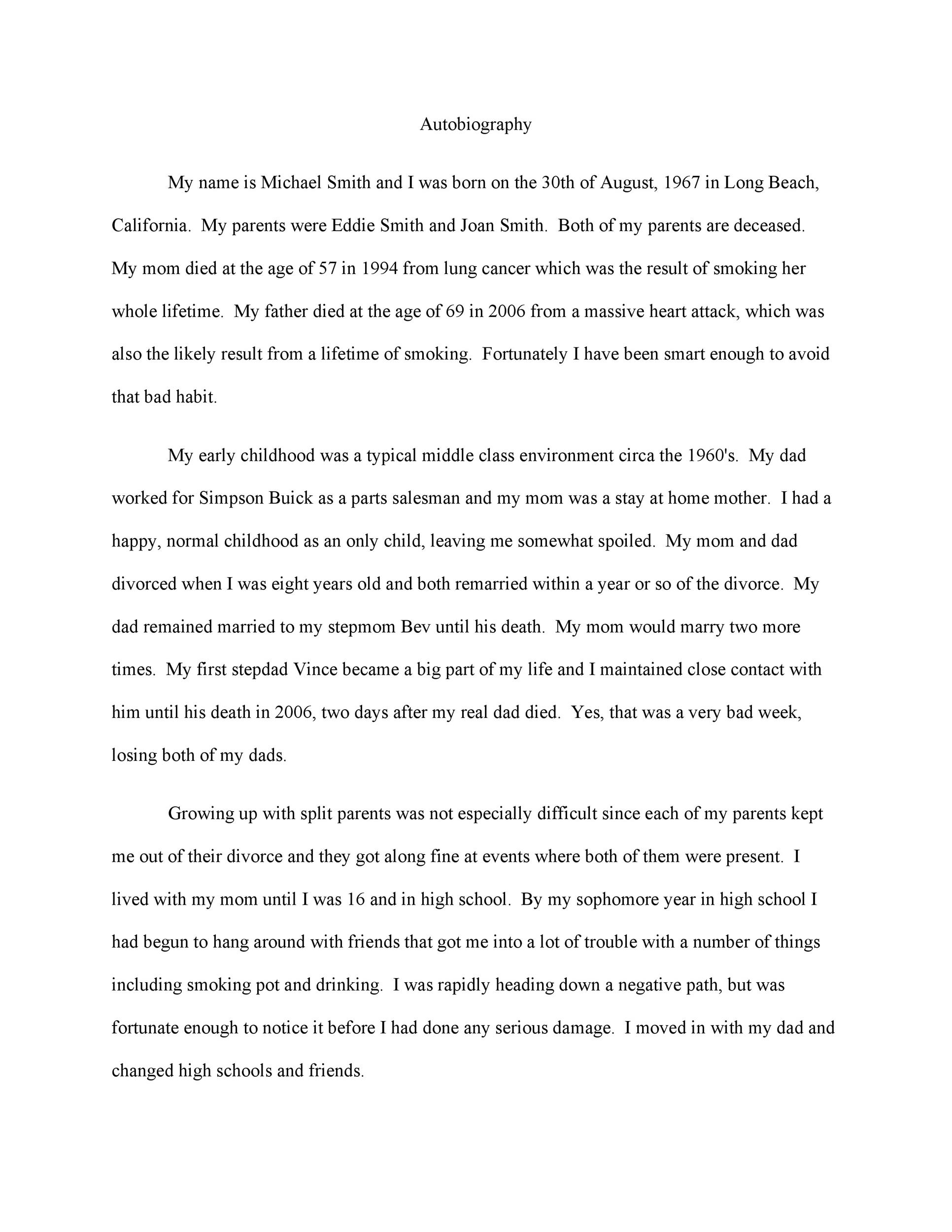 Free Autobiography Template 32