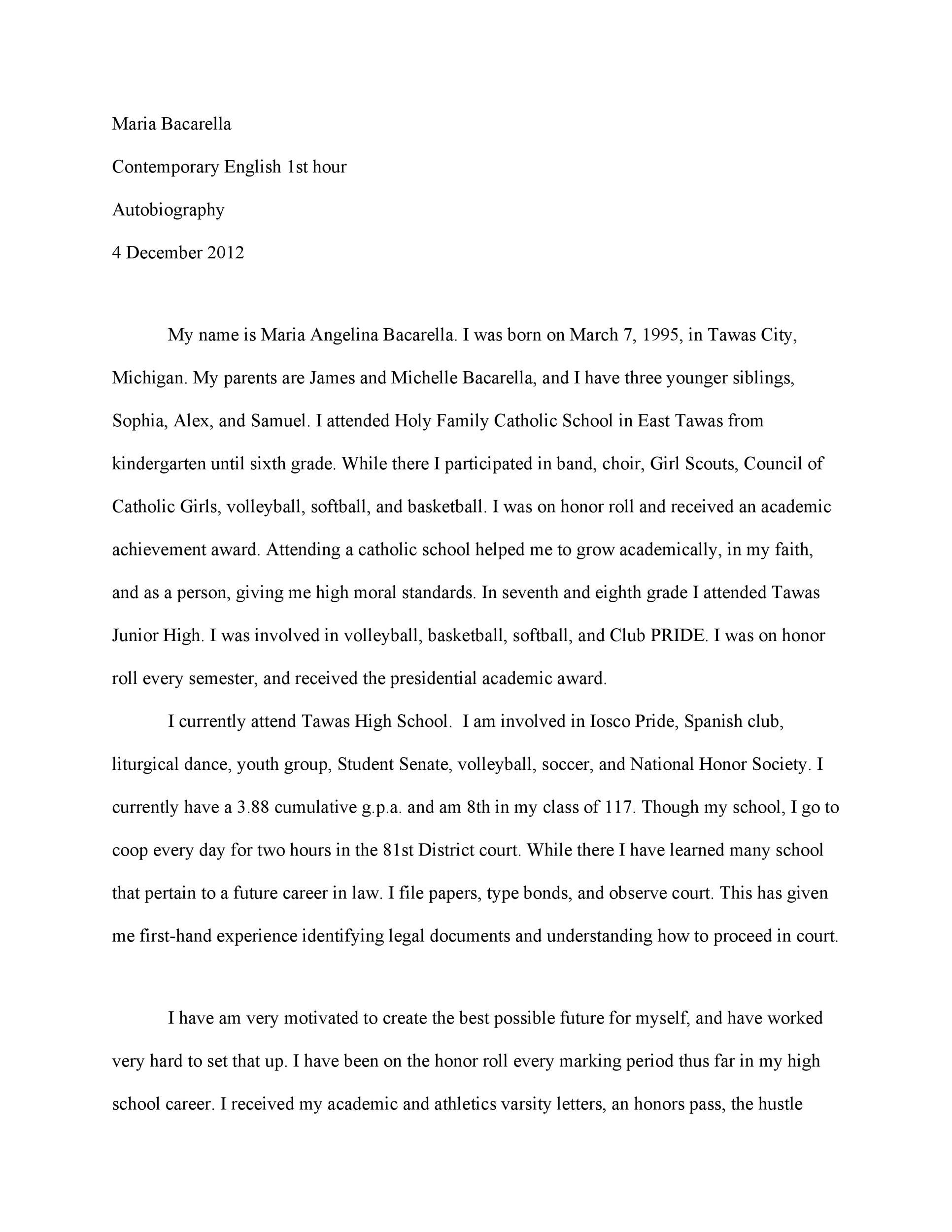 Biography sample essay