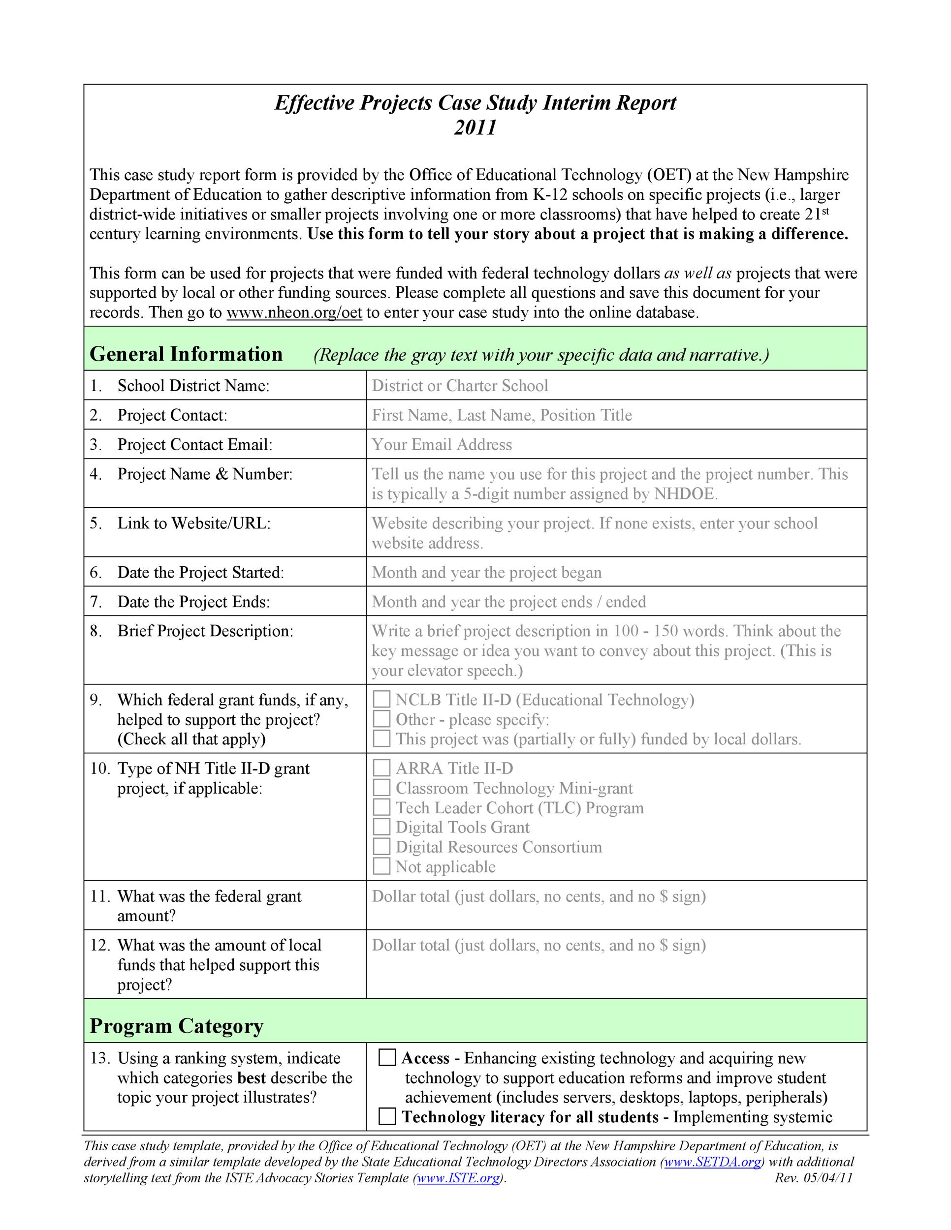 49 free case study templates case study format for Template for writing a case study