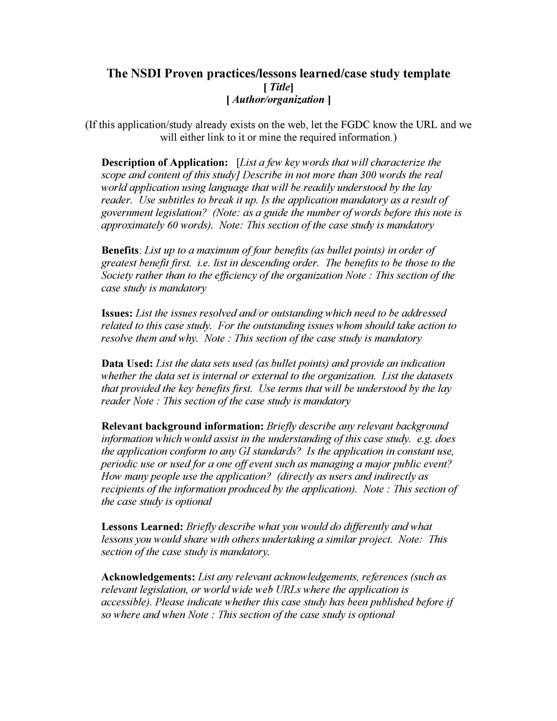Free Case Study Template 36