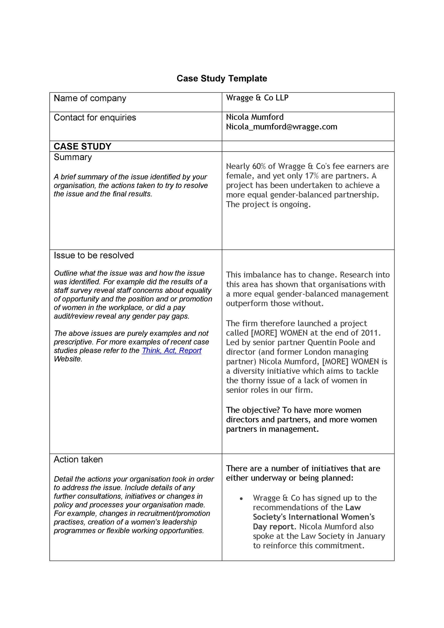 Free Case Study Template 47