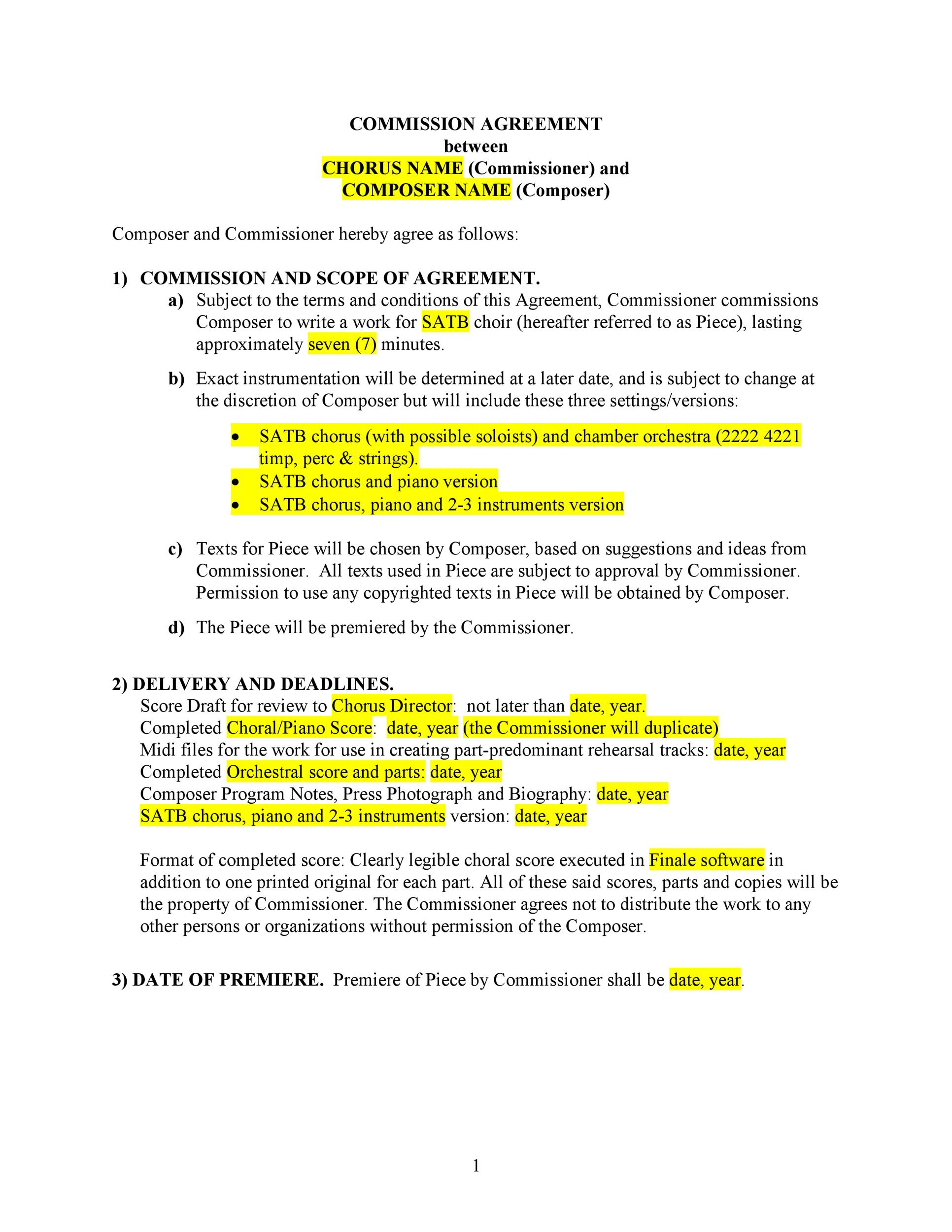 Free Commission Agreement Template 07