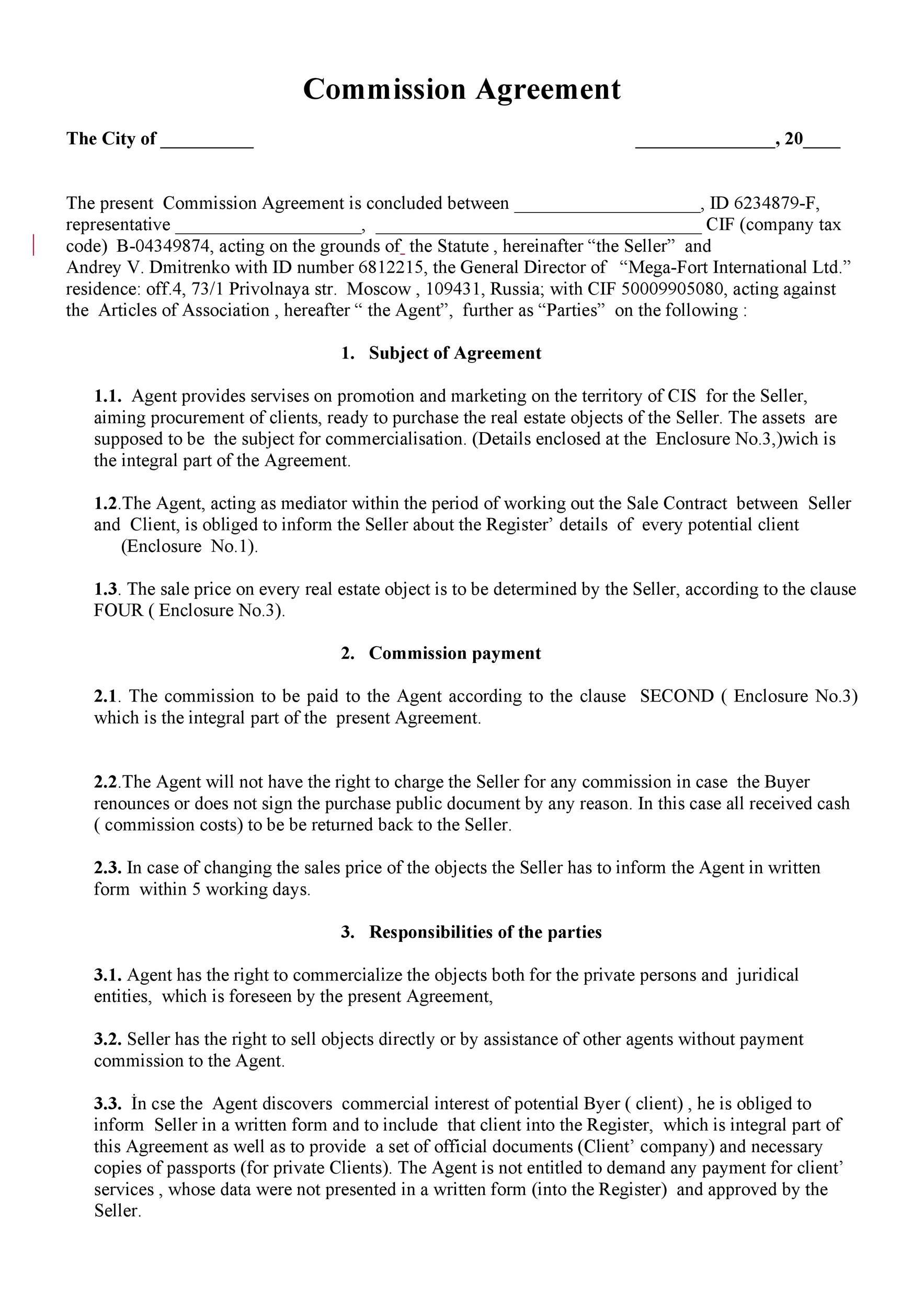 free commission agreement template 08
