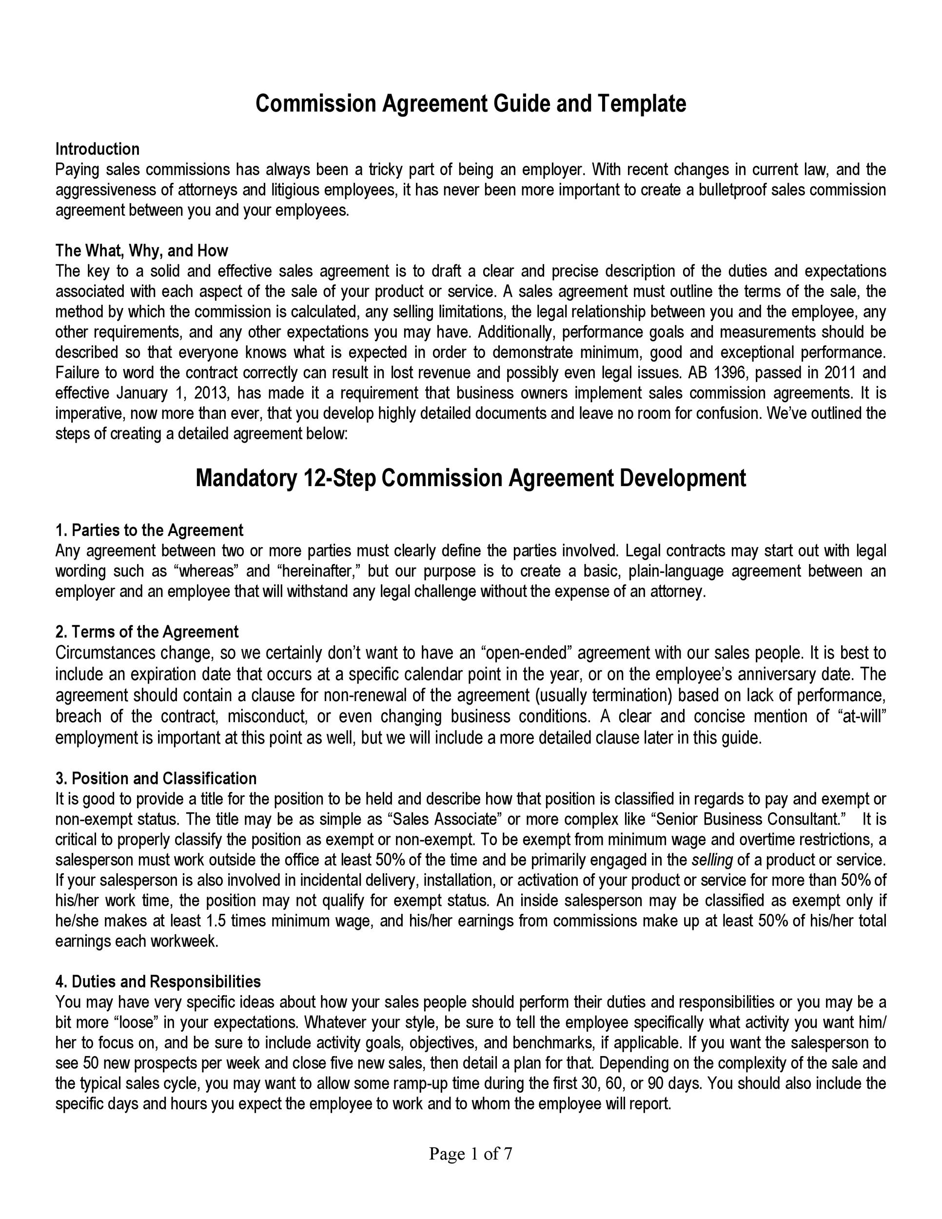 Commission Sales Agreement Template Free from templatelab.com