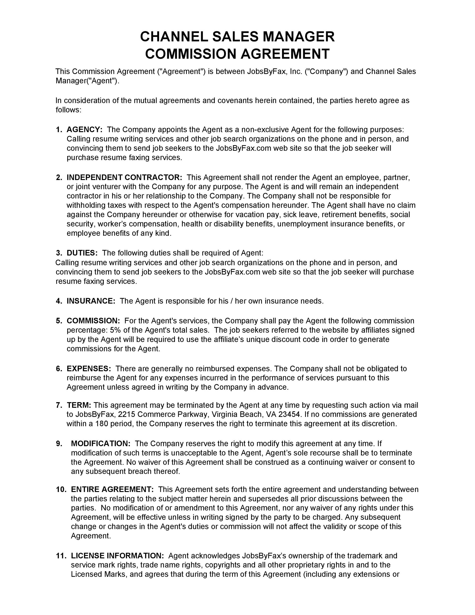 Free Commission Agreement Template 14