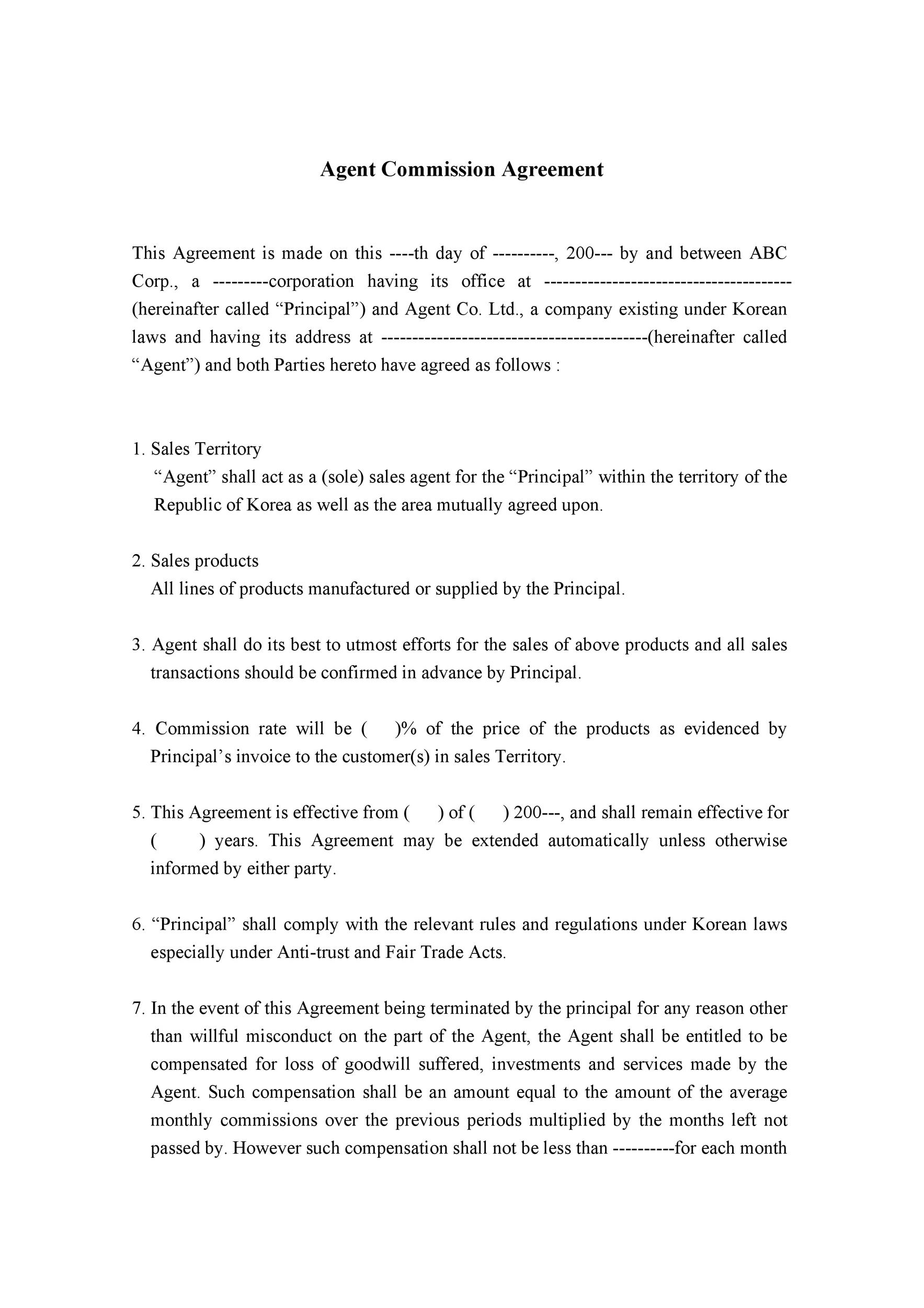 Free Commission Agreement Template 28
