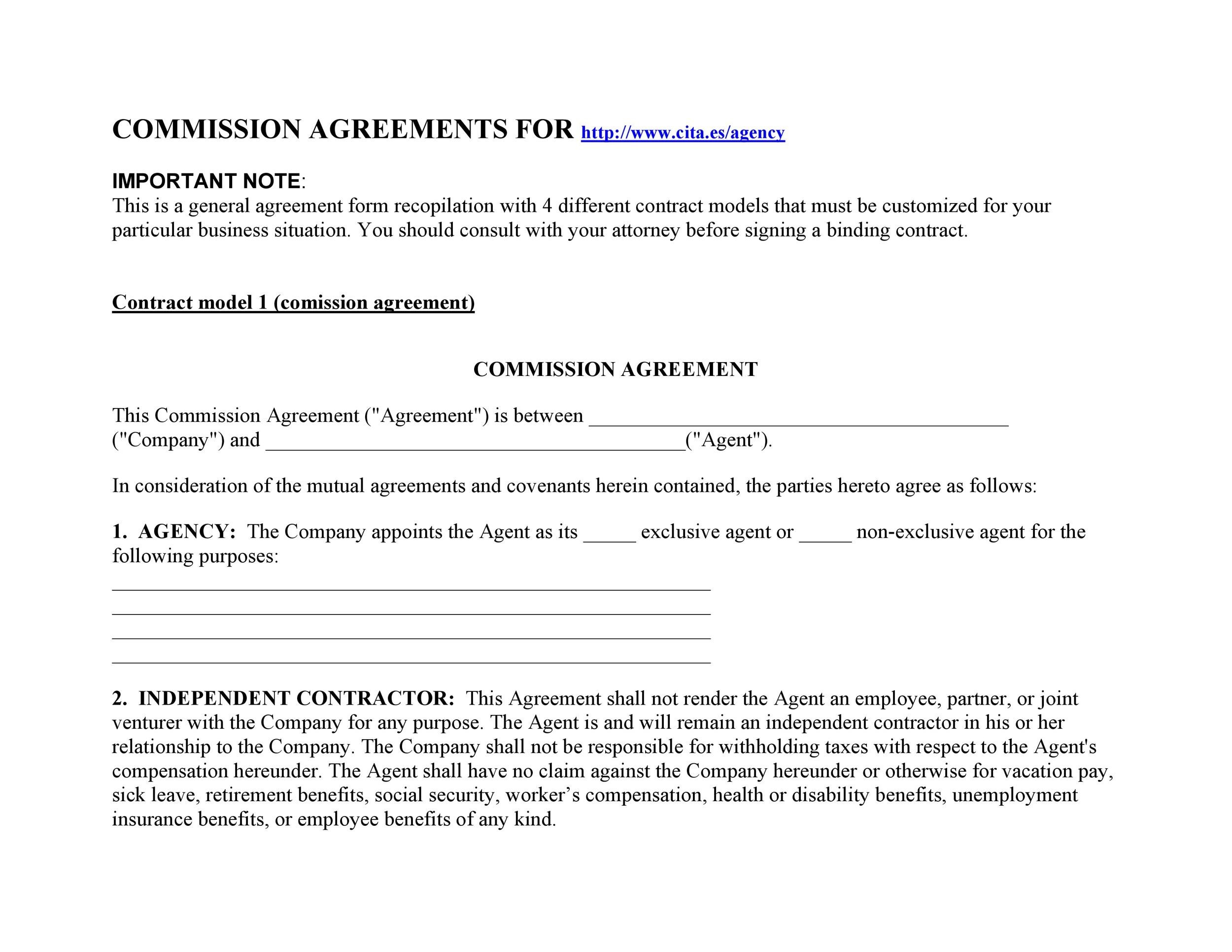 Free Commission Agreement Template 32