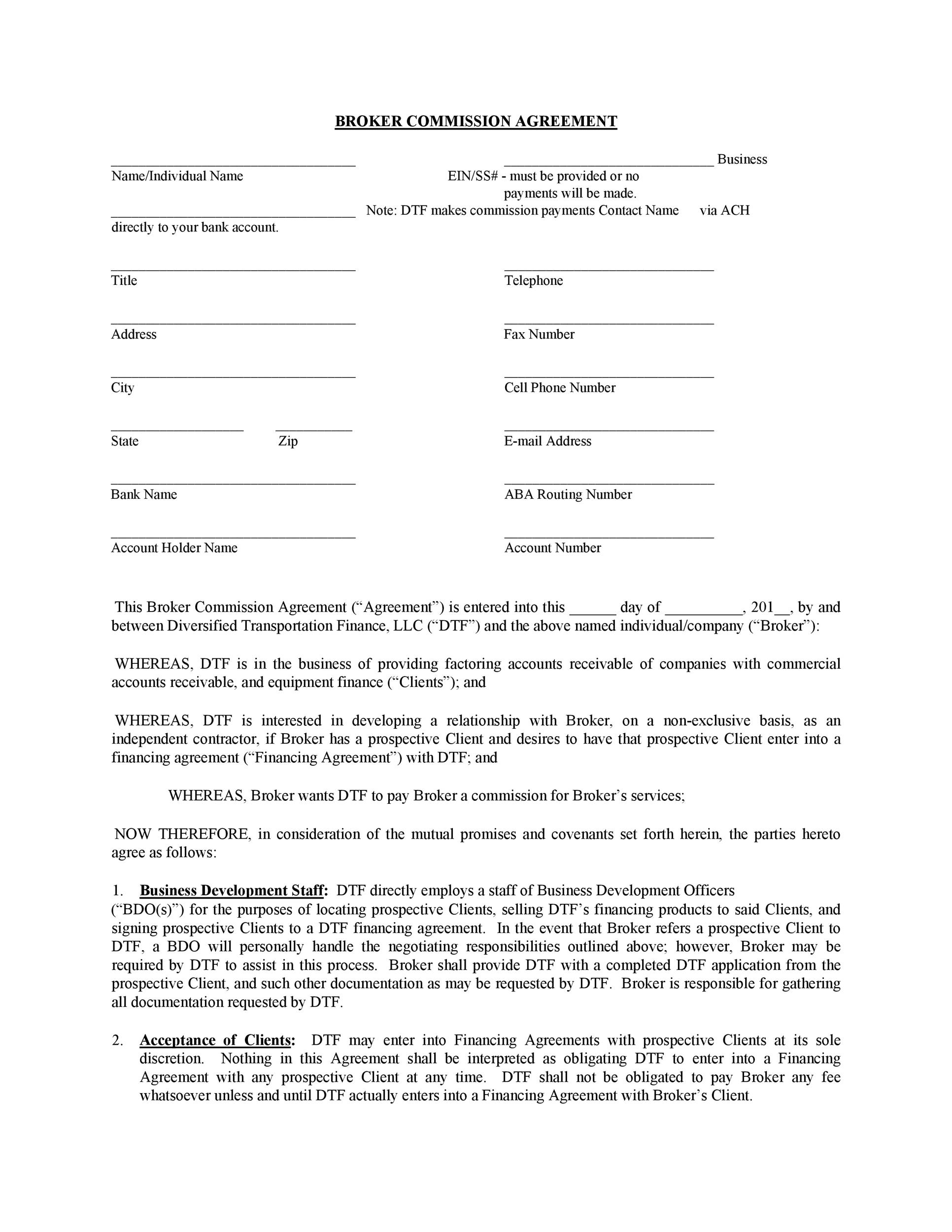 Free Commission Agreement Template 35