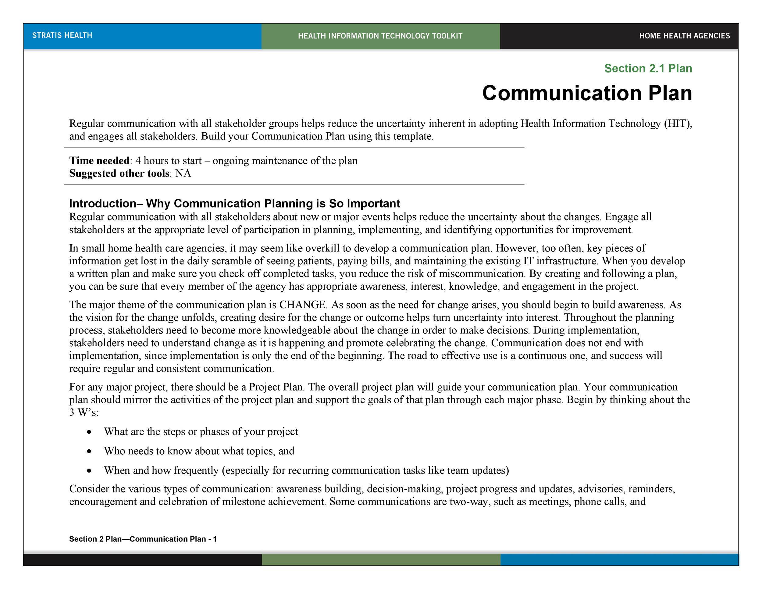 Free Communication Plan Template 02