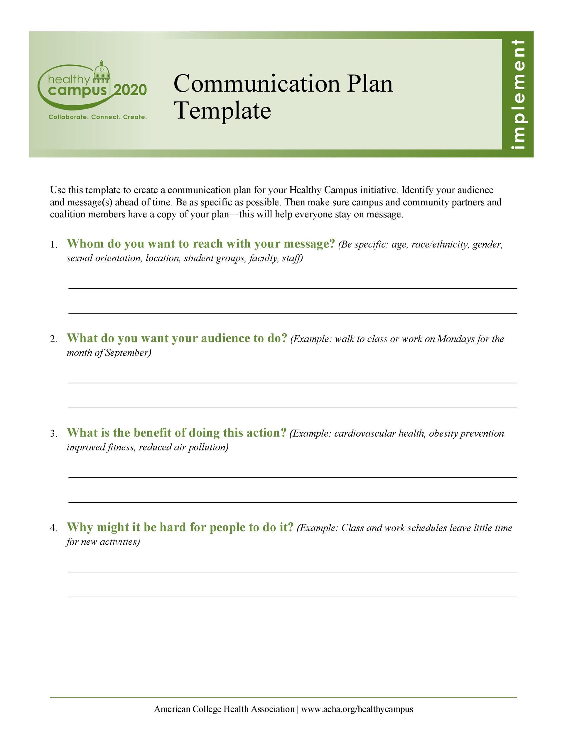 Free Communication Plan Template 04