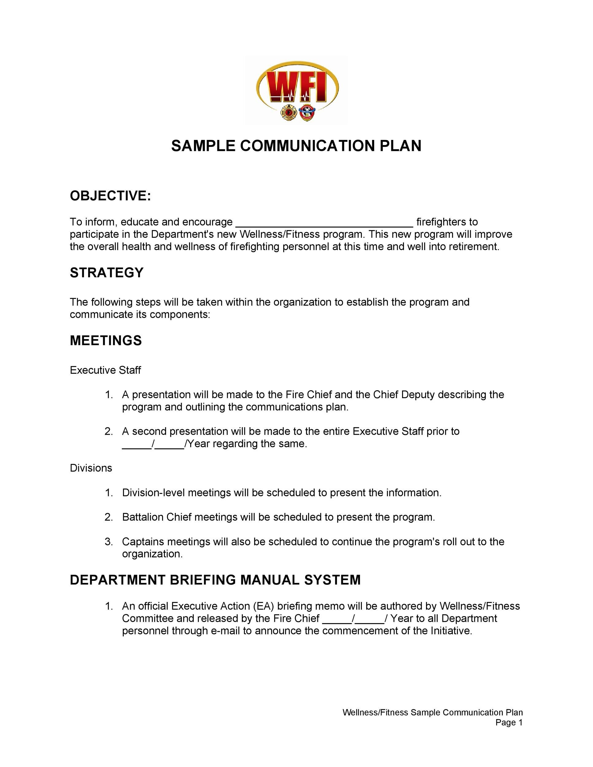 Free Communication Plan Template 05