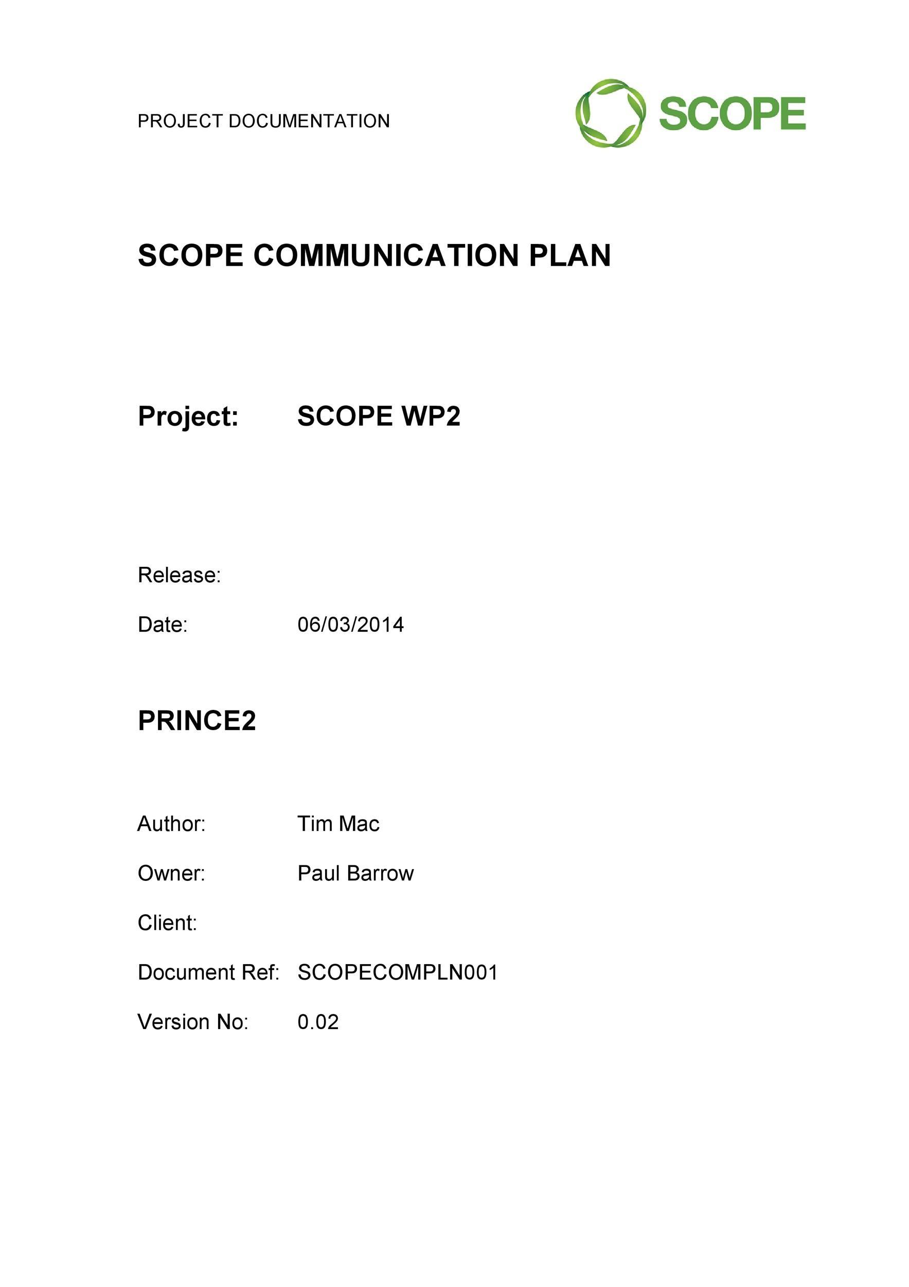 Free Communication Plan Template 08