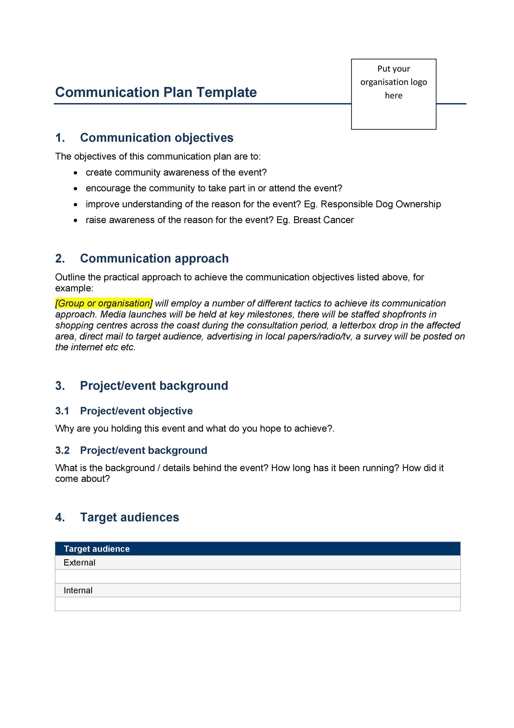 Free Communication Plan Template 12