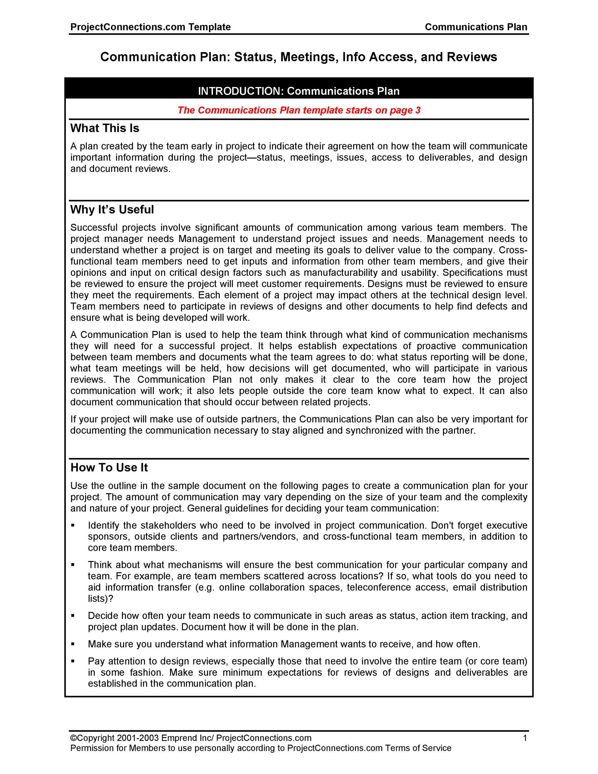 Free Communication Plan Template 14