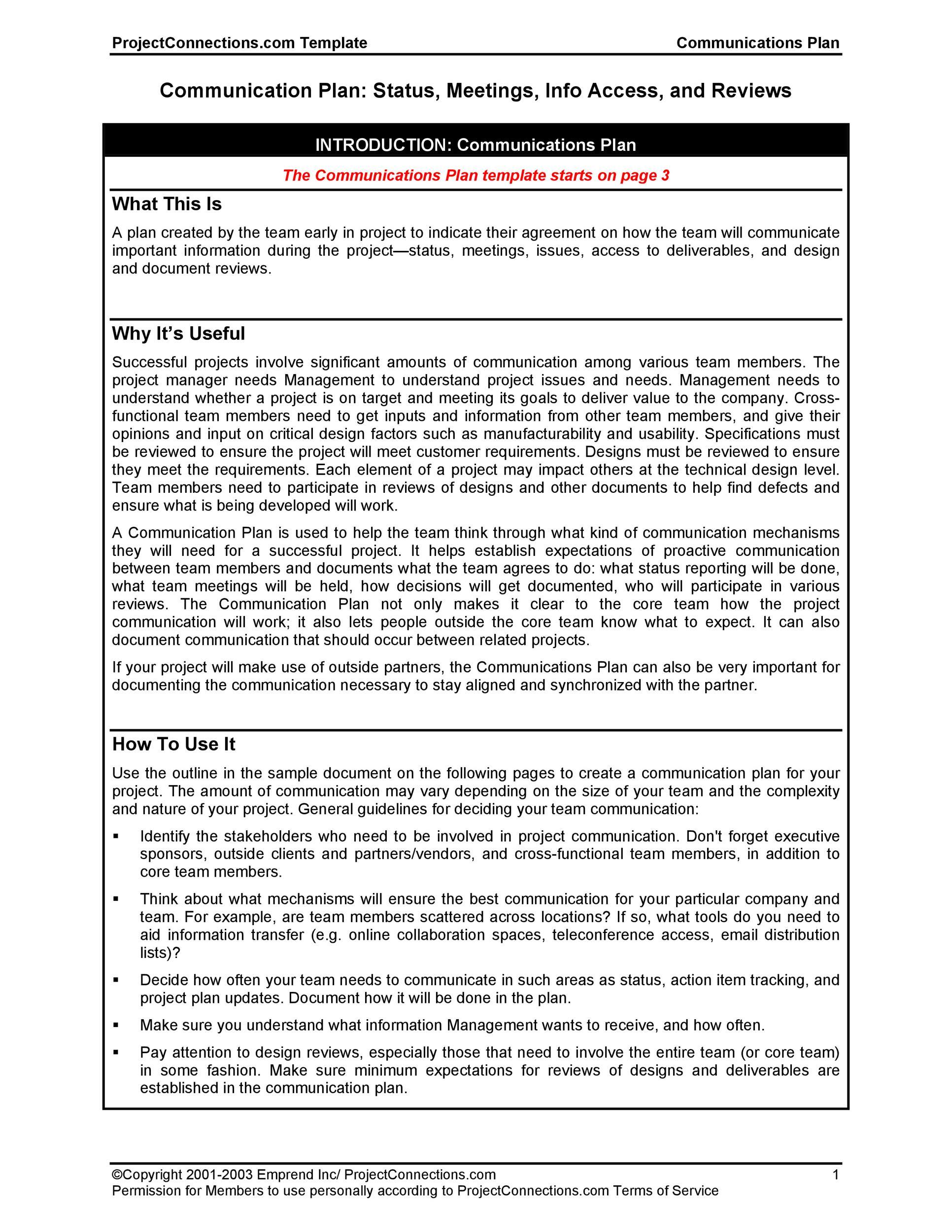 Free Communication Plan Template 14