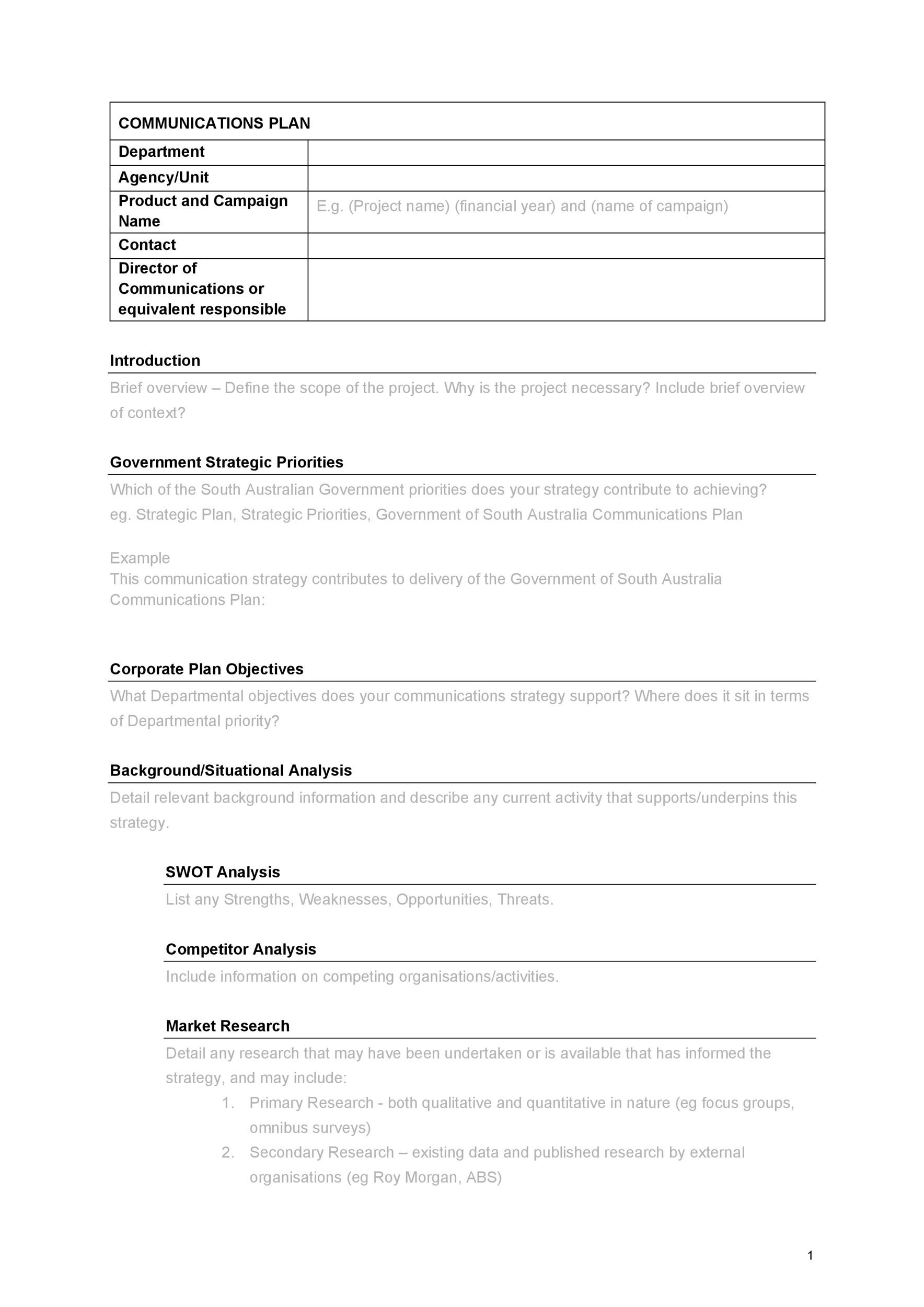 Free Communication Plan Template 15