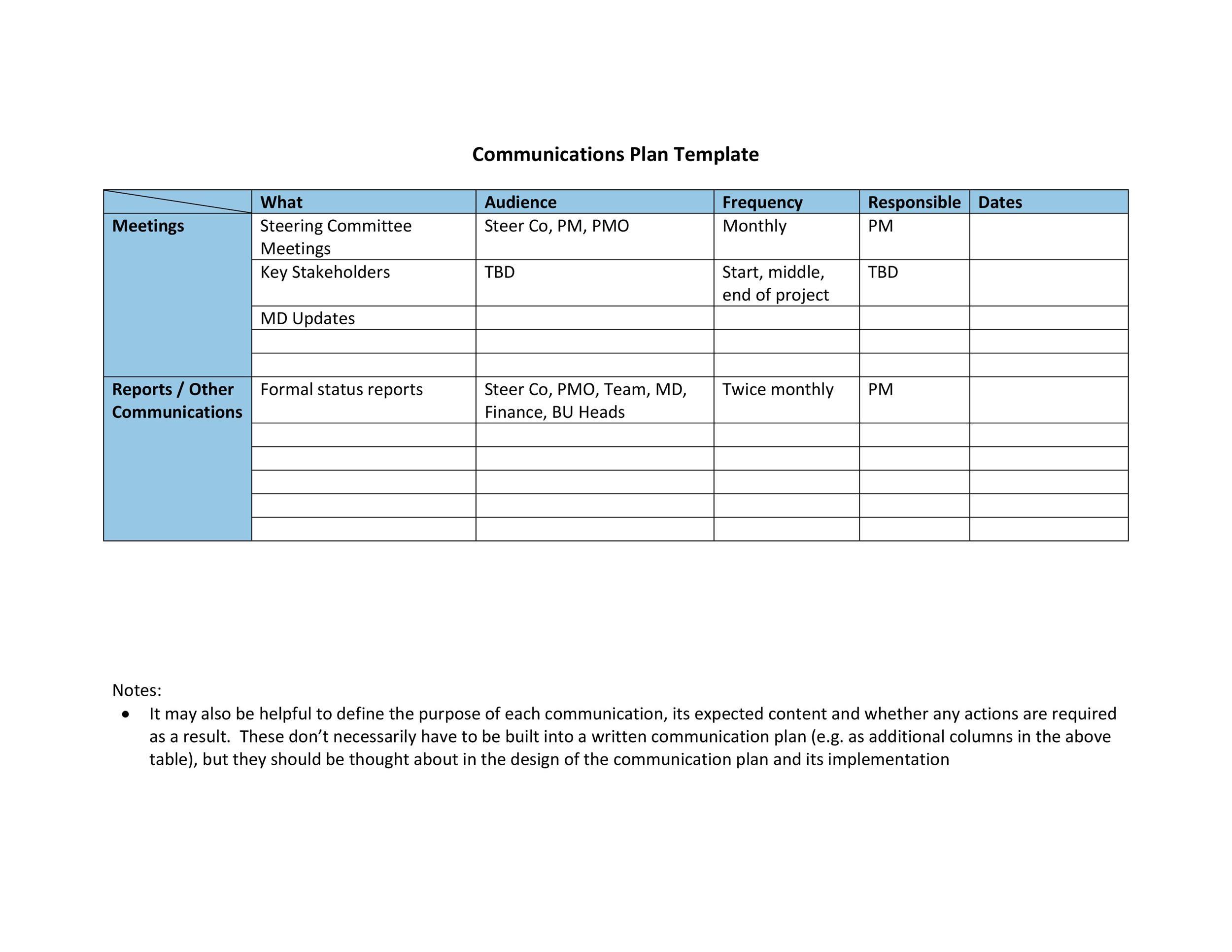 Free Communication Plan Template 16
