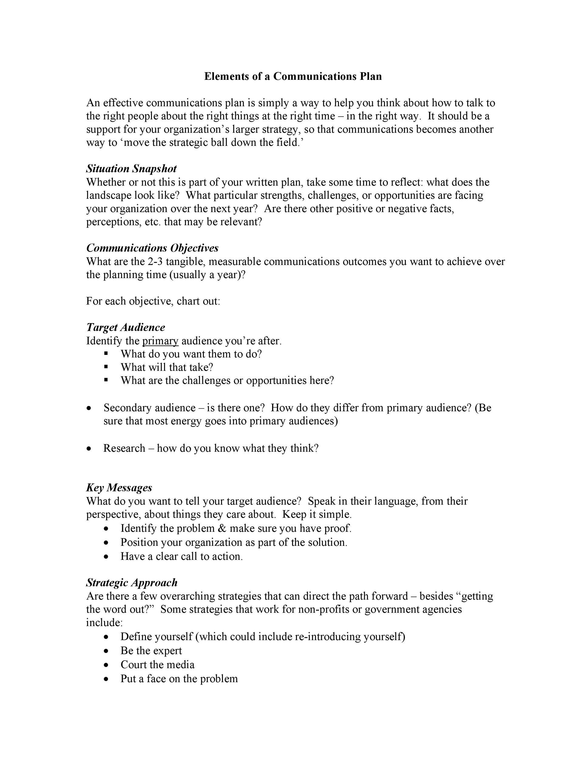 Free Communication Plan Template 17