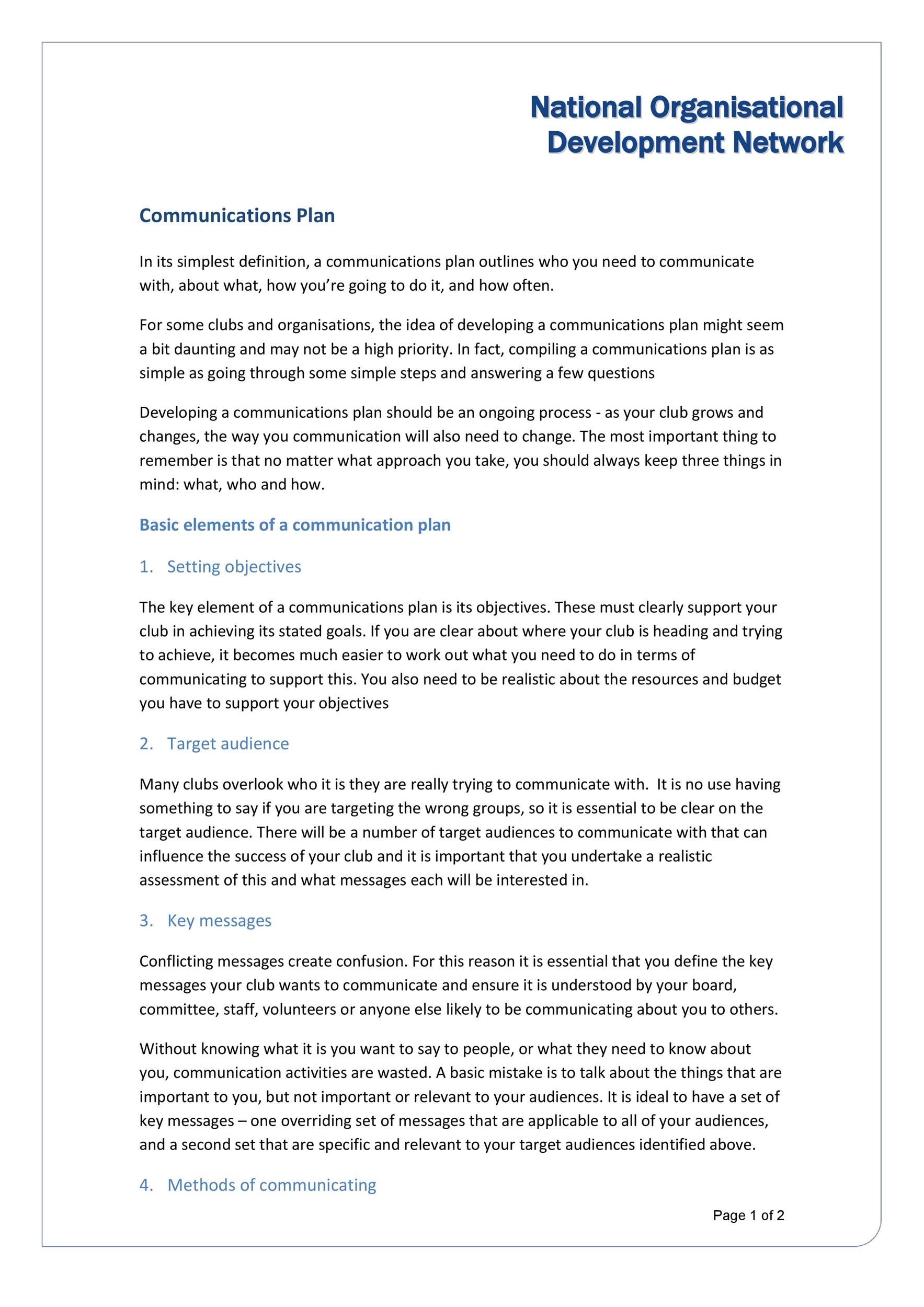 Free Communication Plan Template 19