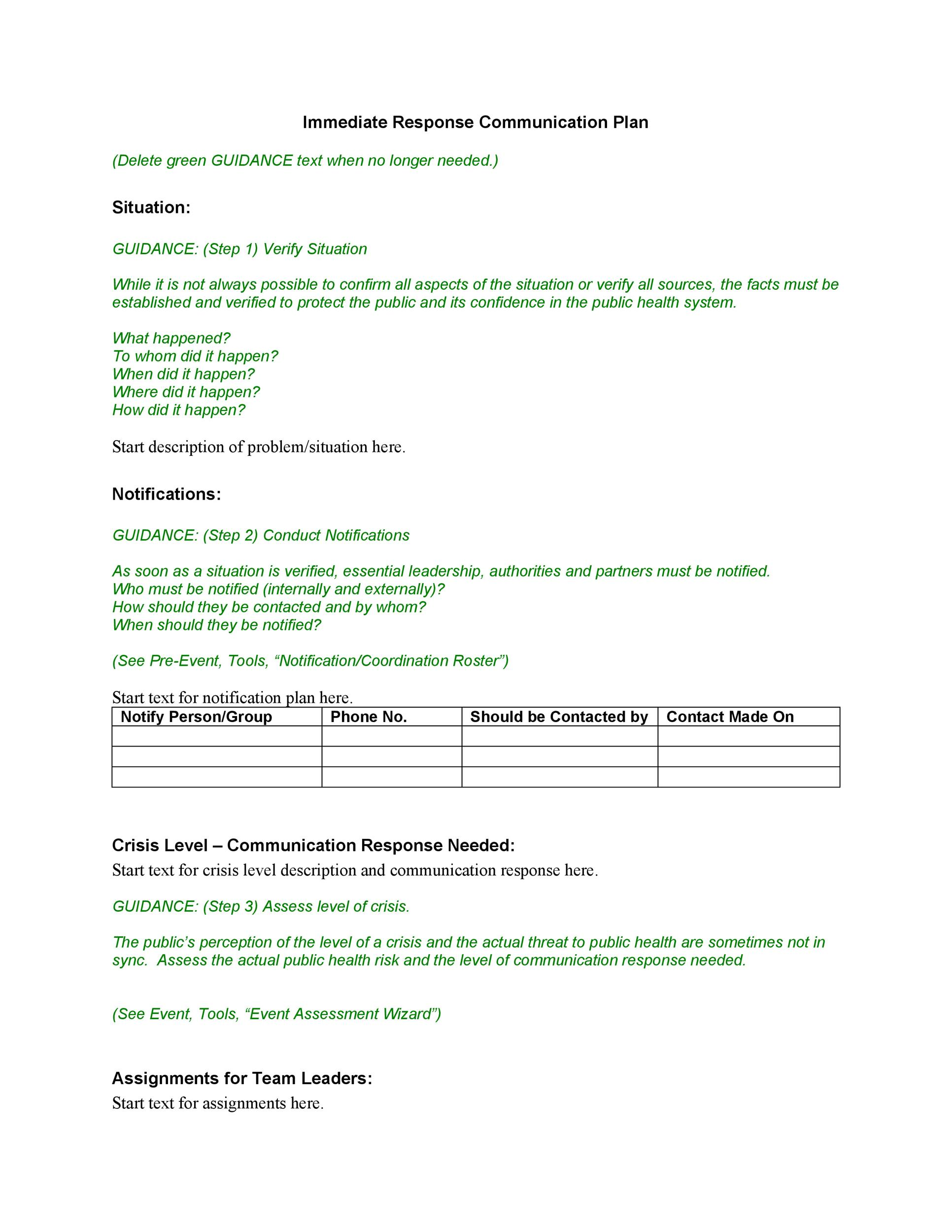 Free Communication Plan Template 25