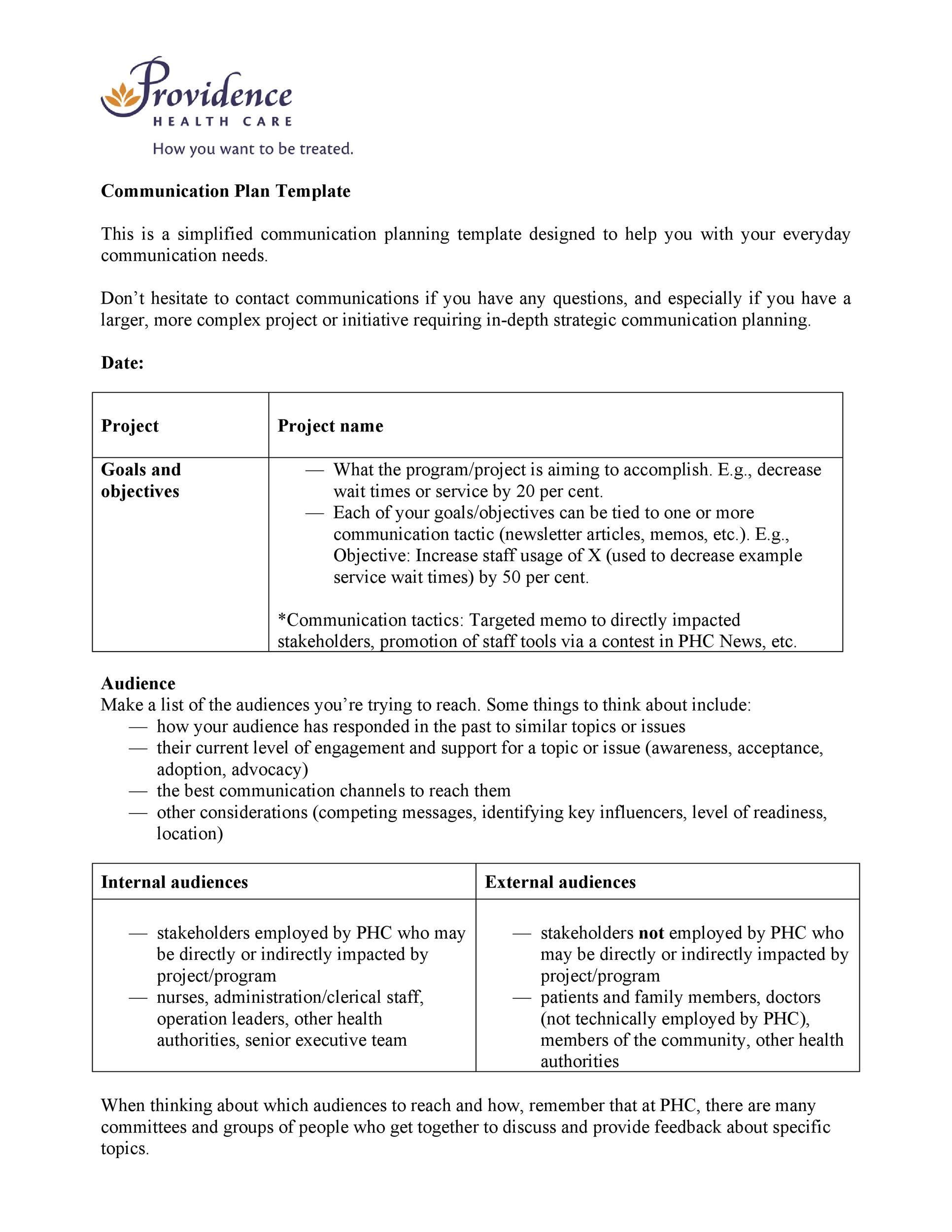 Free Communication Plan Template 26